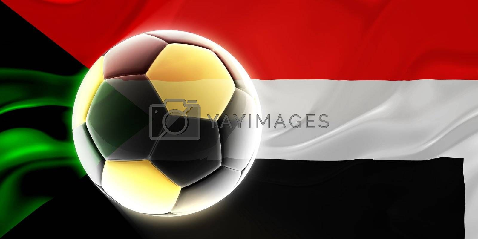 Flag of Sudan, national country symbol illustration wavy fabric sports soccer football