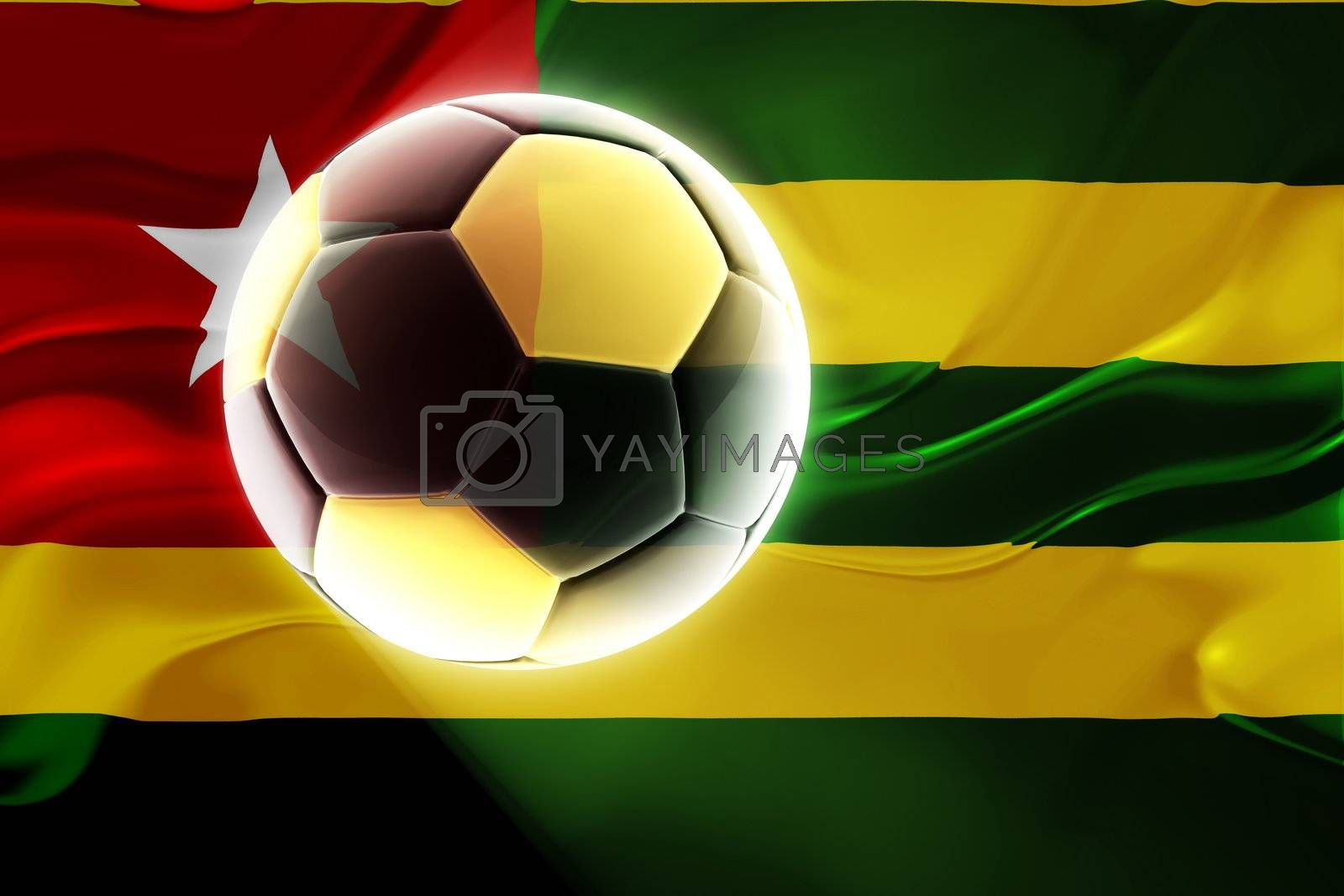 Flag of Togo, national country symbol illustration wavy fabric sports soccer football