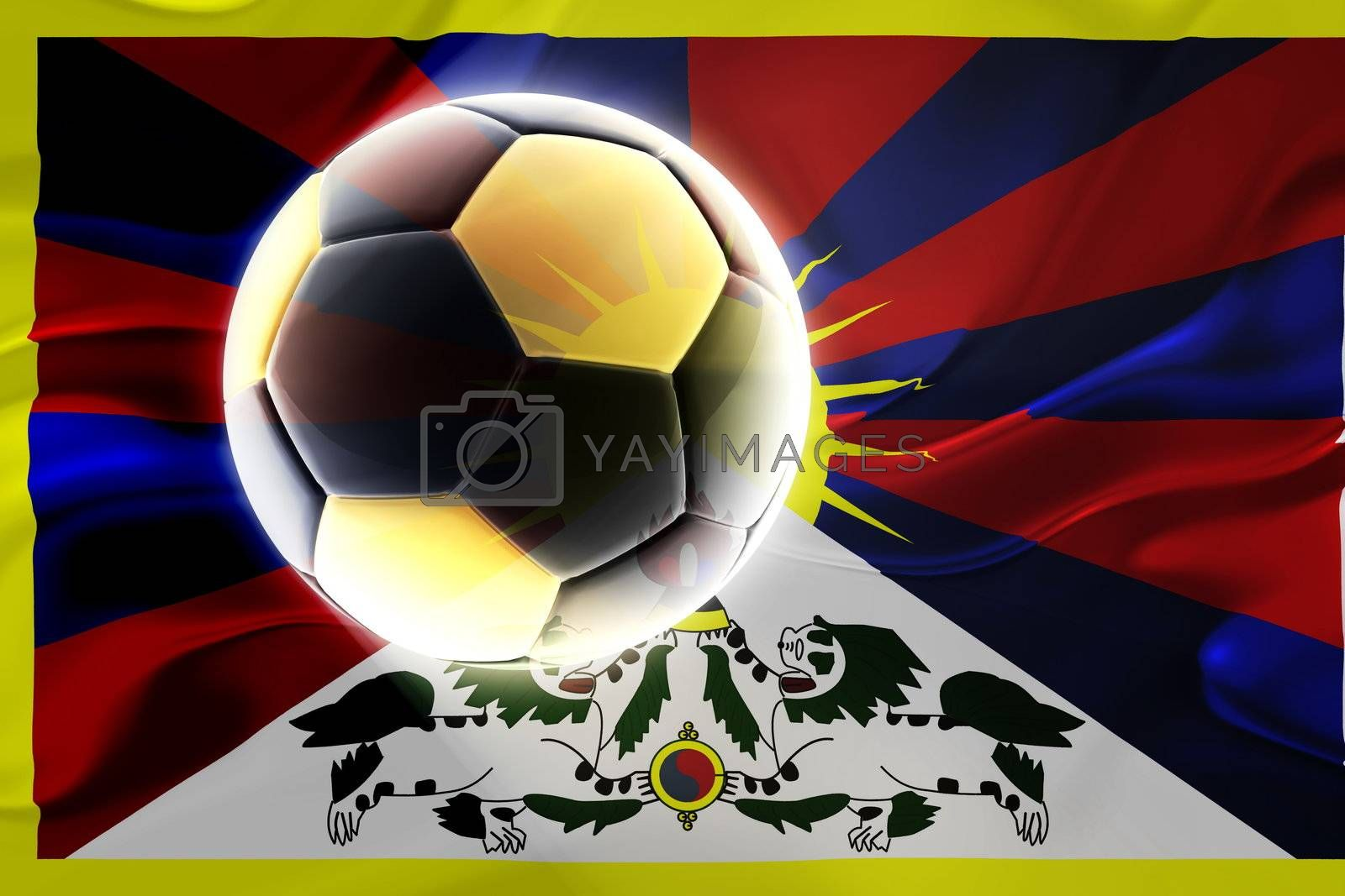 Flag of Tibet, national symbol illustration clipart wavy fabric sports soccer football