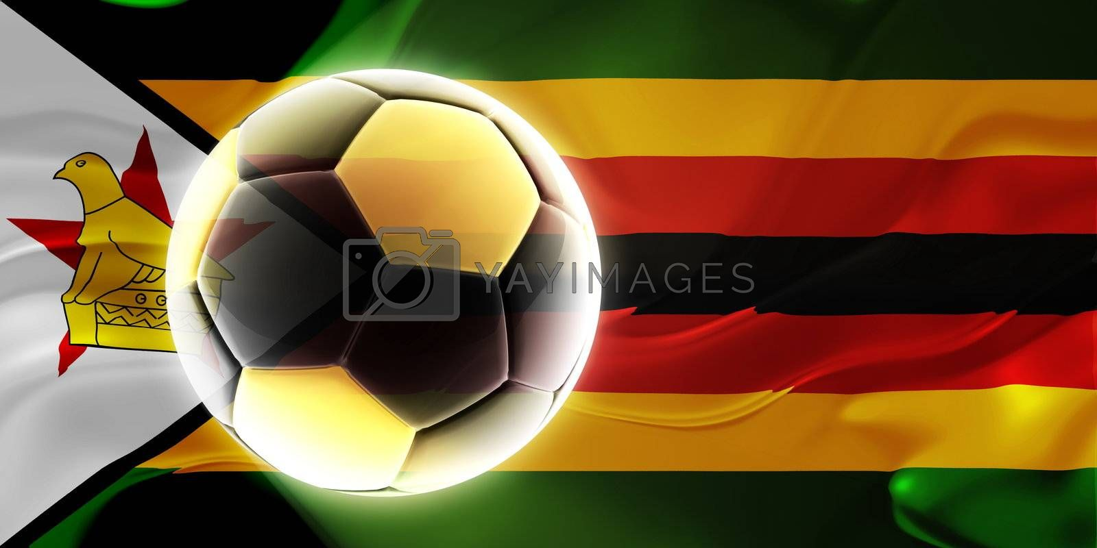 Flag of Zimbabwe wavy soccer by kgtoh