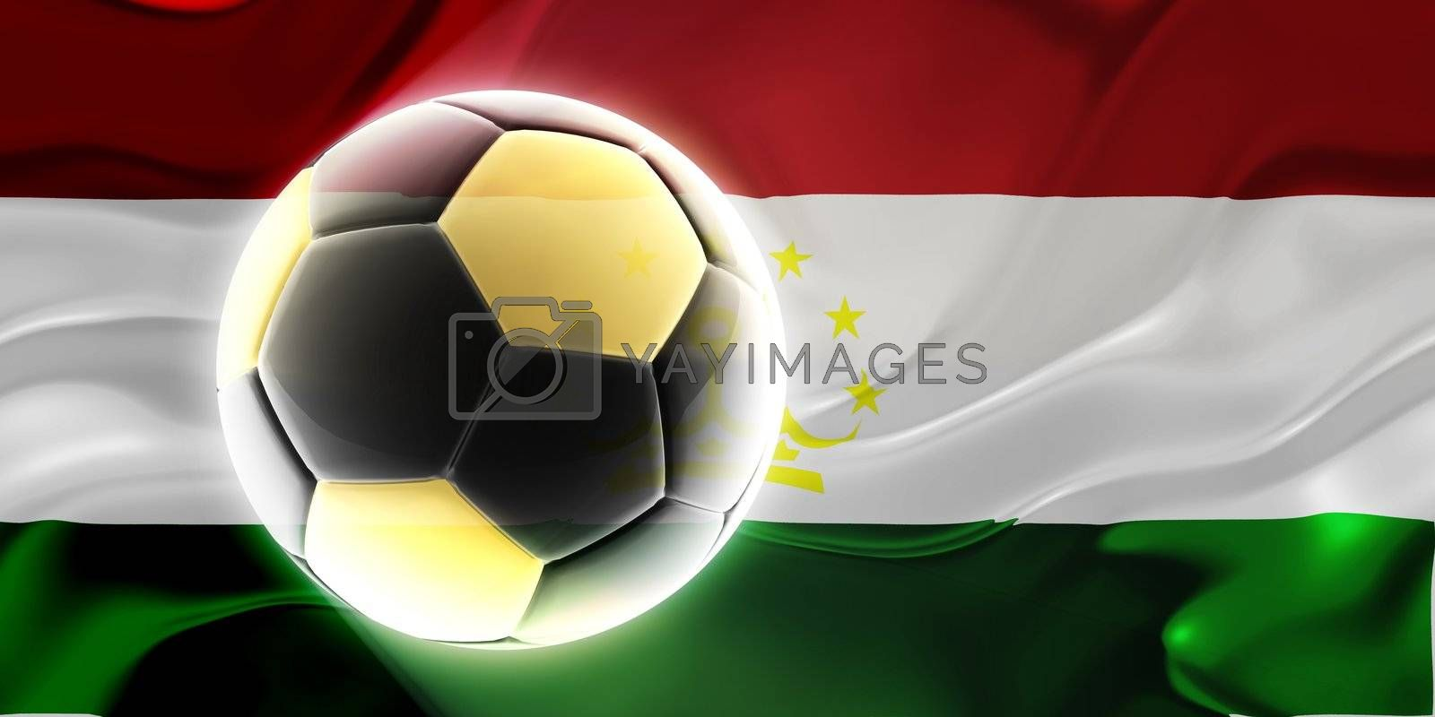 Flag of Tajikistan, national country symbol illustration wavy fabric sports soccer football