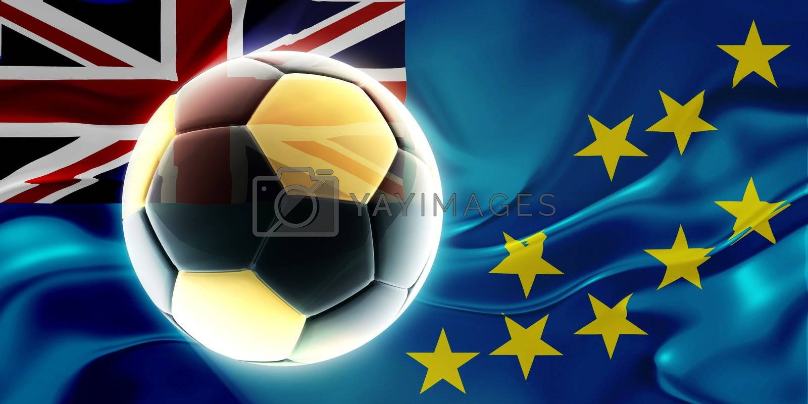 Flag of Tuvalu, national country symbol illustration wavy fabric sports soccer football