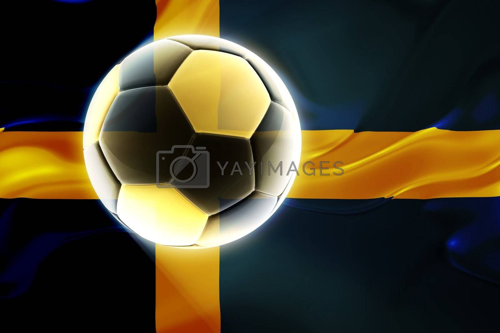 Flag of Sweden, national country symbol illustration wavy fabric sports soccer football