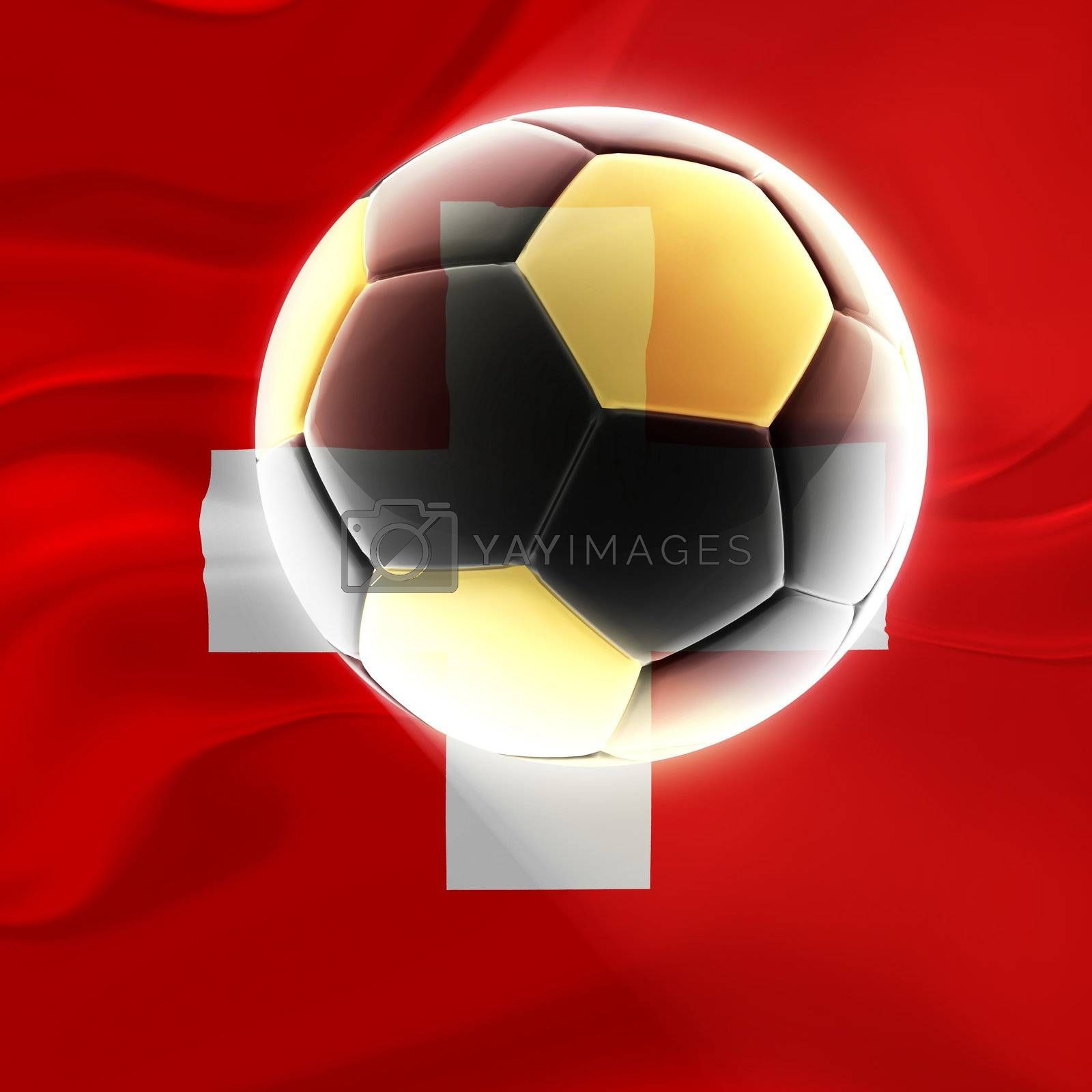 Flag of Switzerland, national symbol illustration clipart wavy fabric sports soccer football