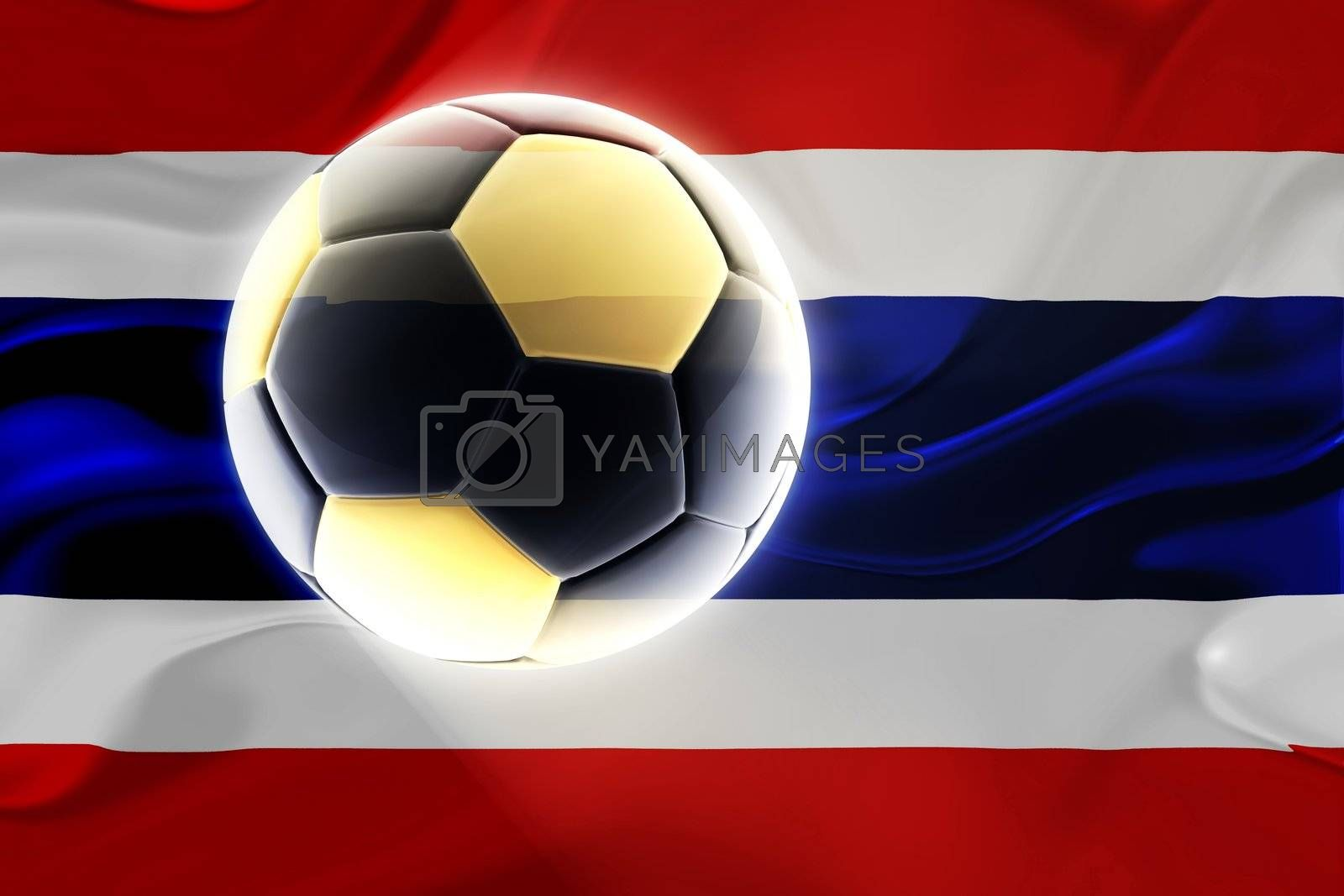 Flag of Thailand, national country symbol illustration wavy fabric sports soccer football