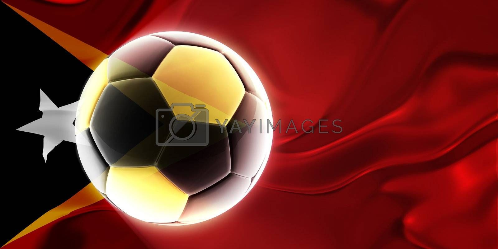 Flag of Timor-Leste, national country symbol illustration wavy fabric sports soccer football