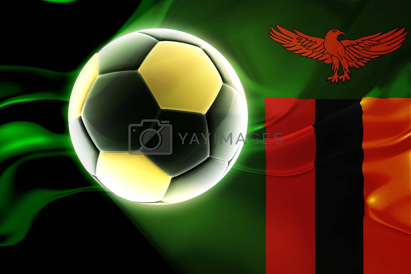 Flag of Zambia, national country symbol illustration wavy fabric sports soccer football