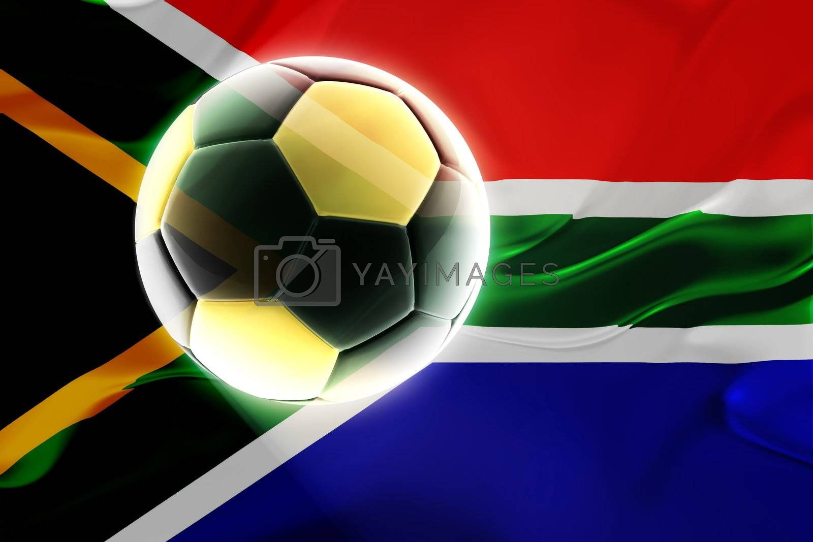 Flag of South Africa, national country symbol illustration wavy fabric sports soccer football