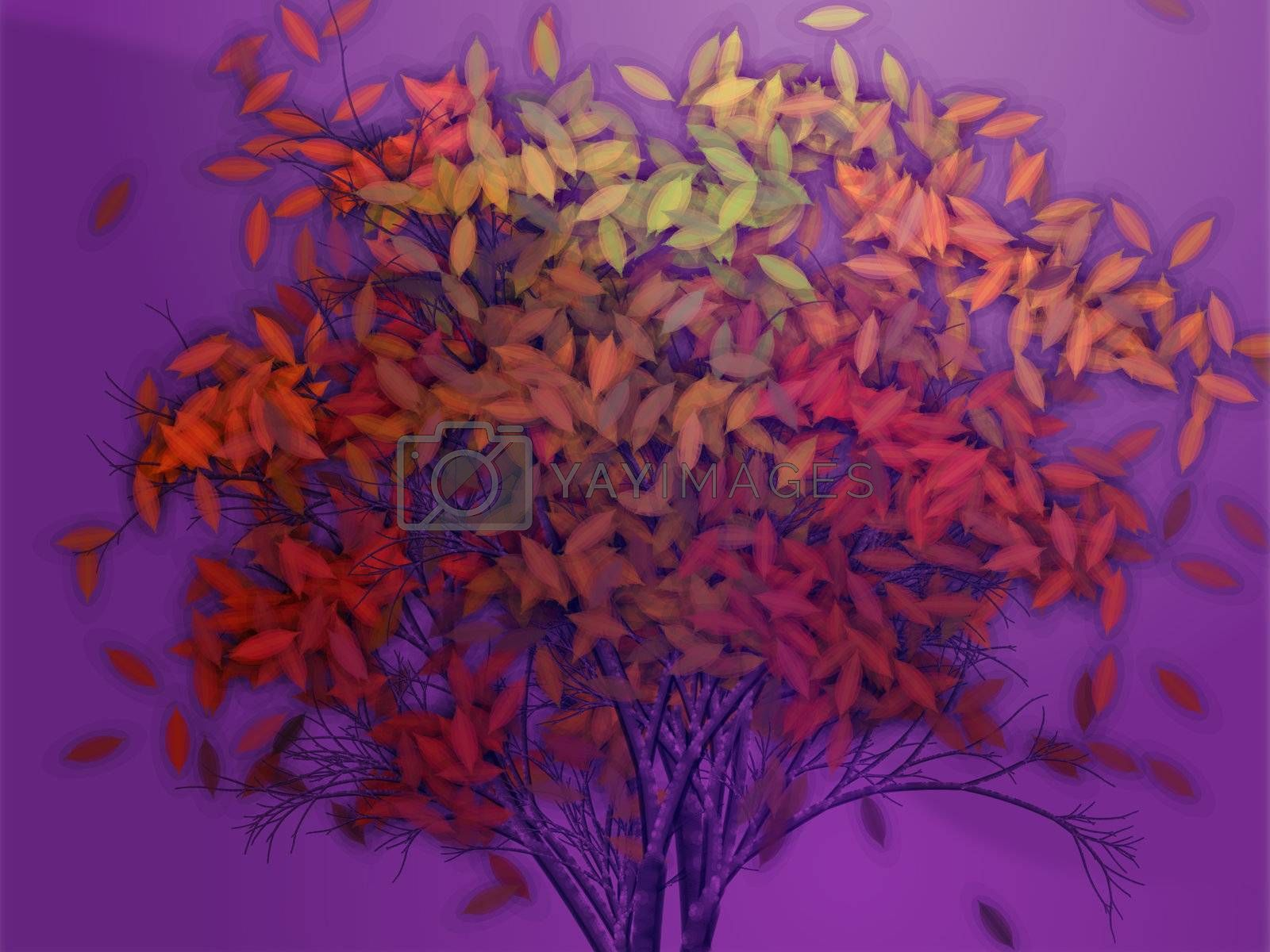 Autumn tree with falling leaves, abstract rendered illustration