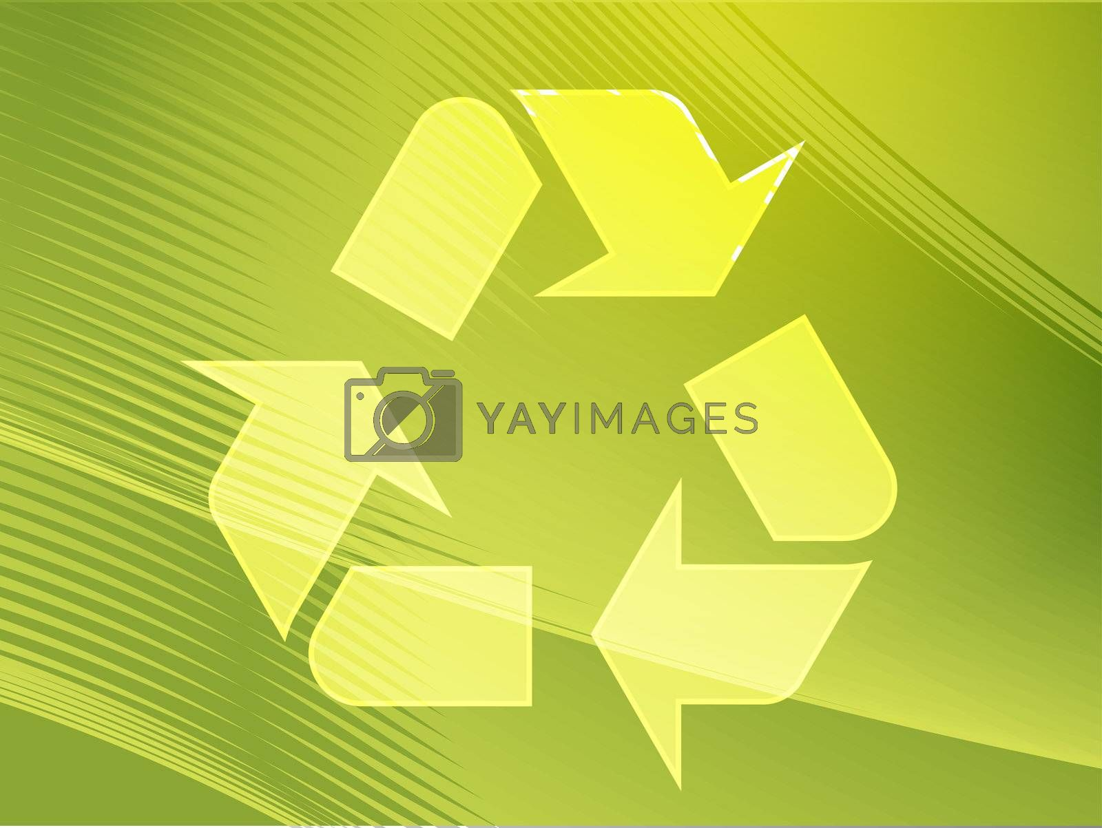 Recycling eco symbol illustration of three pointing arrows on abstract design