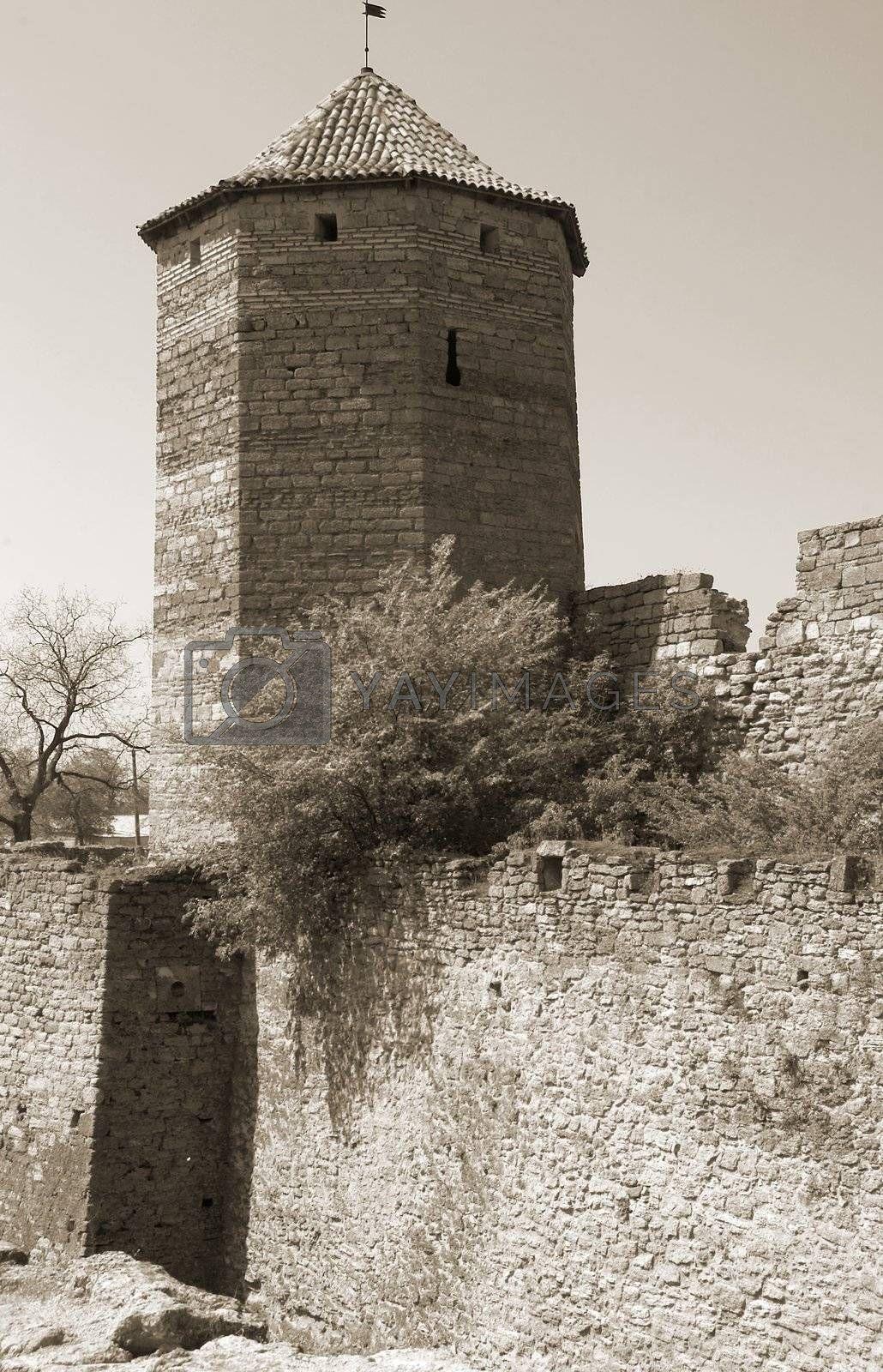 Watchtower in a fortress of the ancient city of Akkerman