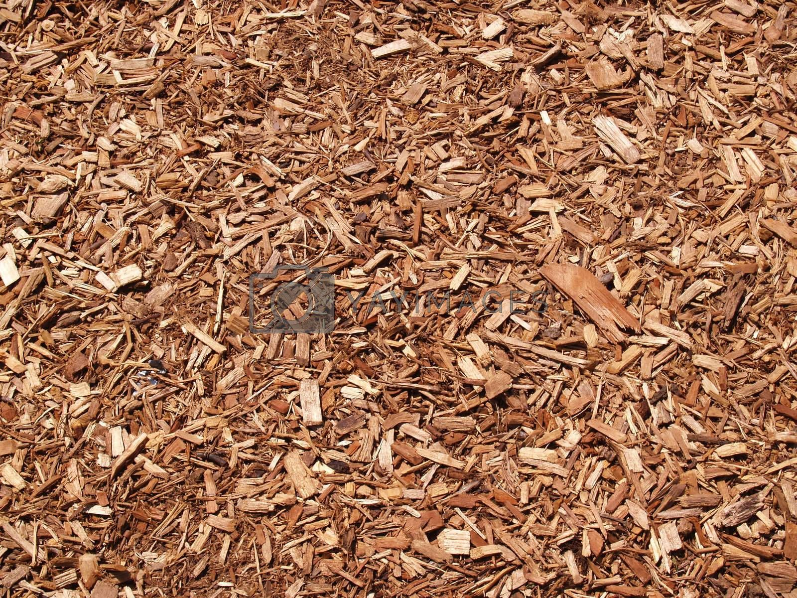 abstract view of wood mulch chips