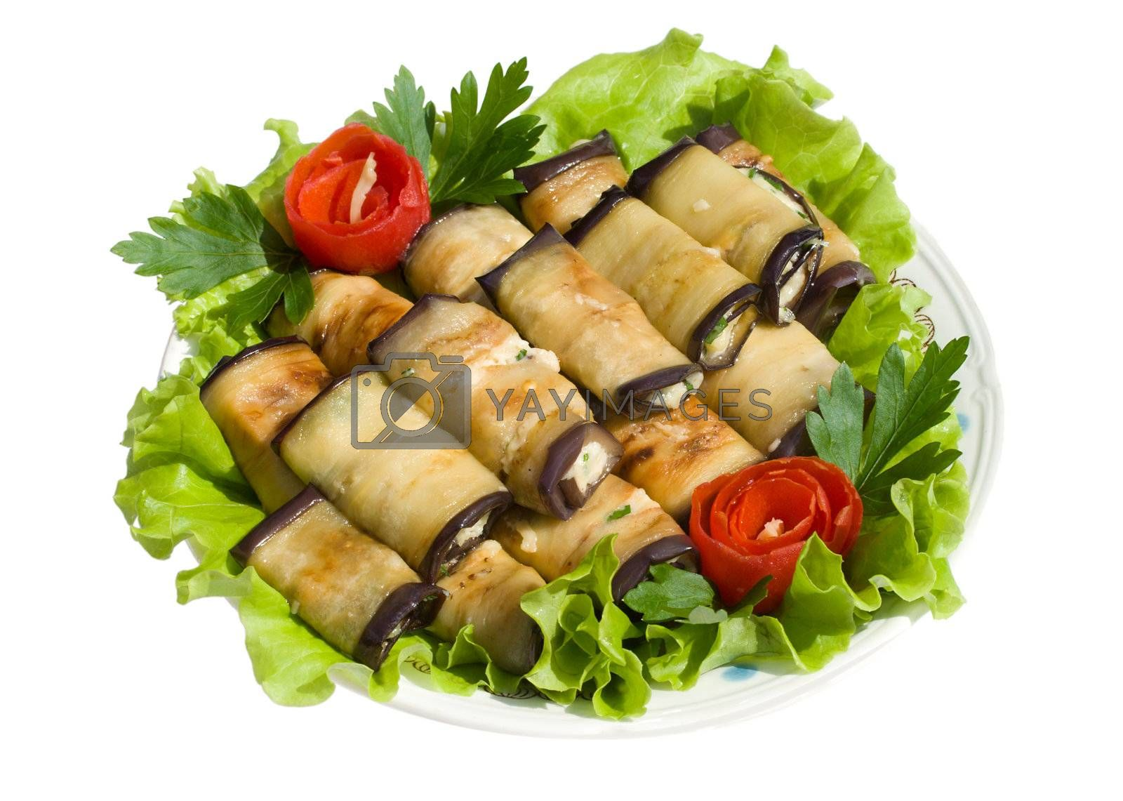 close-up rolls from eggplant on salad leaves