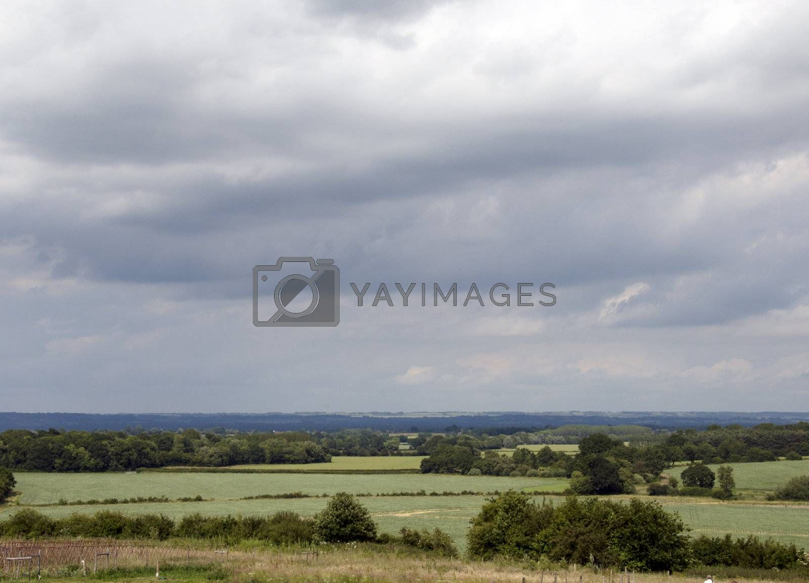 A view of the Kent countryside on a cloudy day