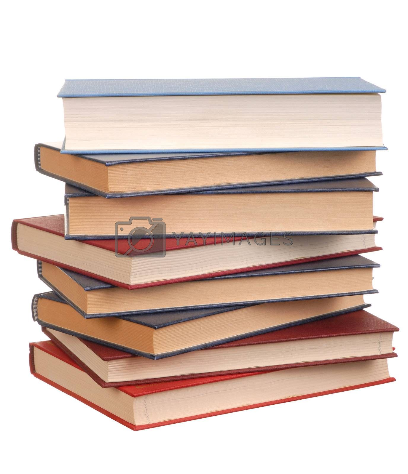 Books stack isolated on white background