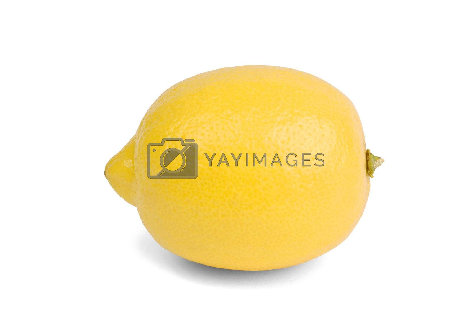 Macro of lemon isolated on white background
