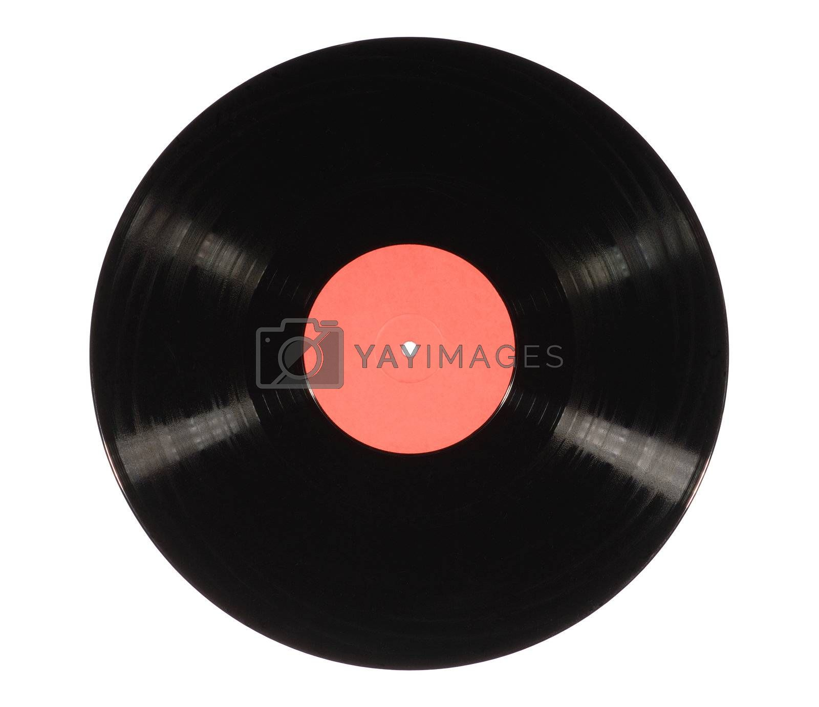 Old black vinyl record isolated on white