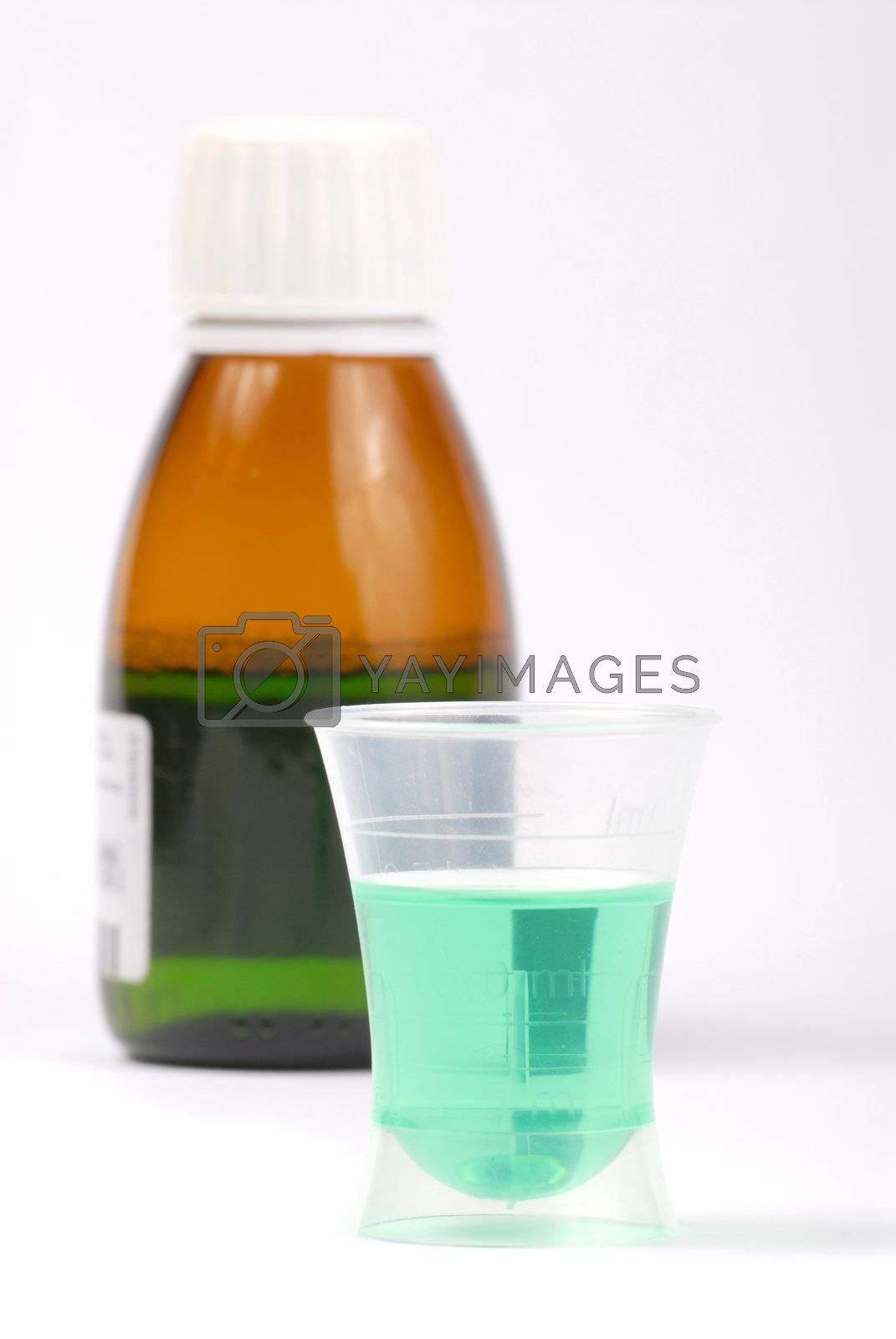 Bottle with medicine isolated on white background