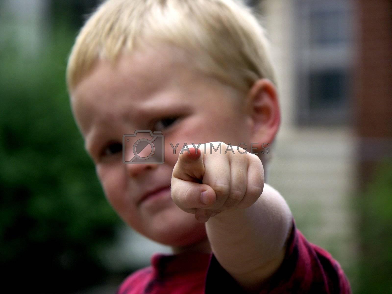 child pointing ,focus on finger