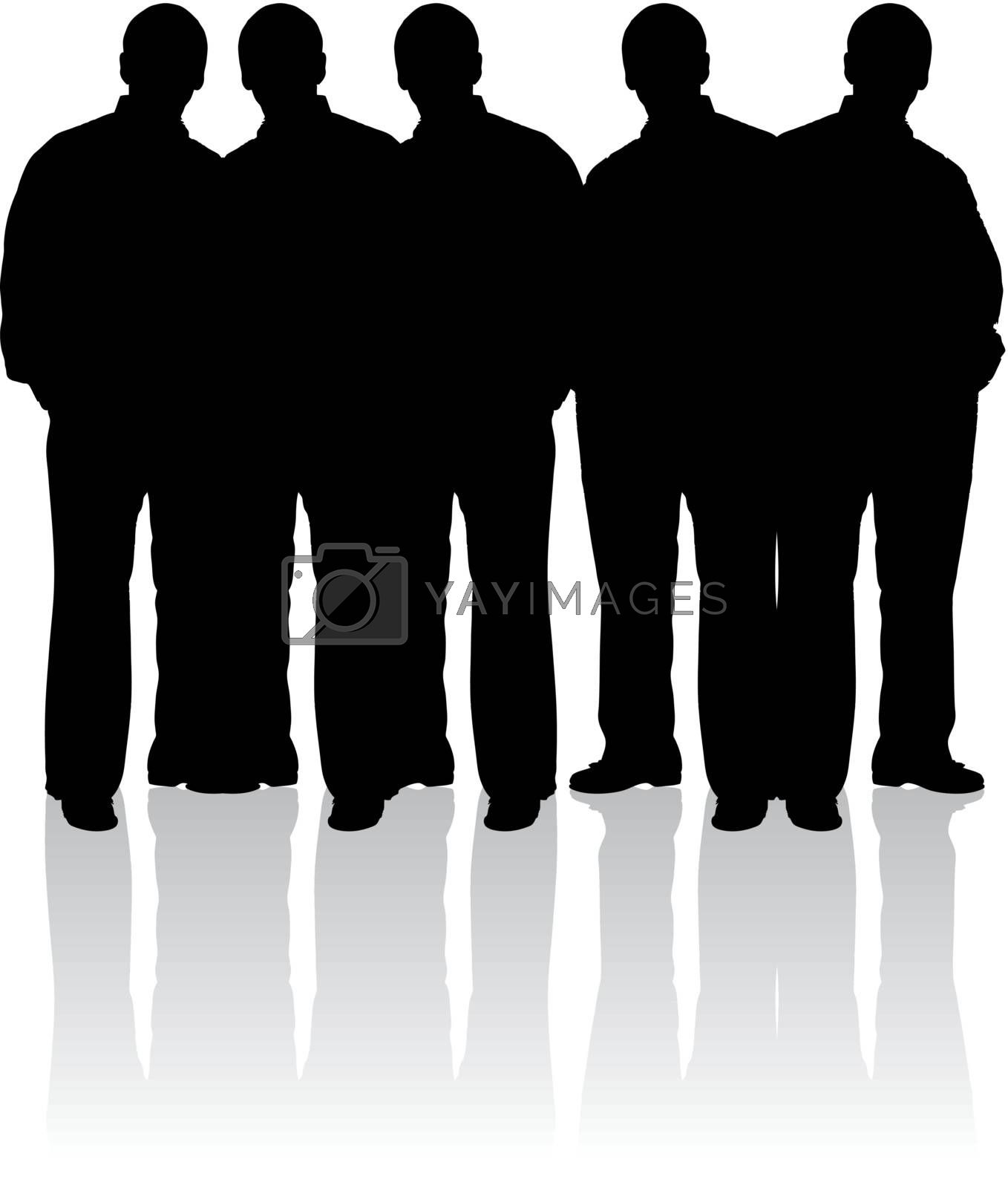 Silhouettes of young people on white background