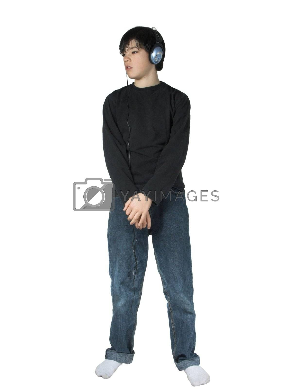 isolated boy listing to music