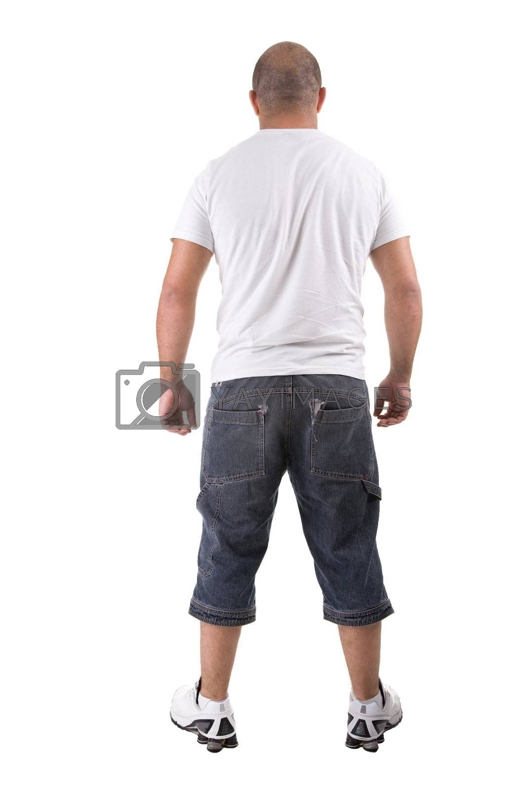 Back view of a strong young man standing. Isolated on white background.