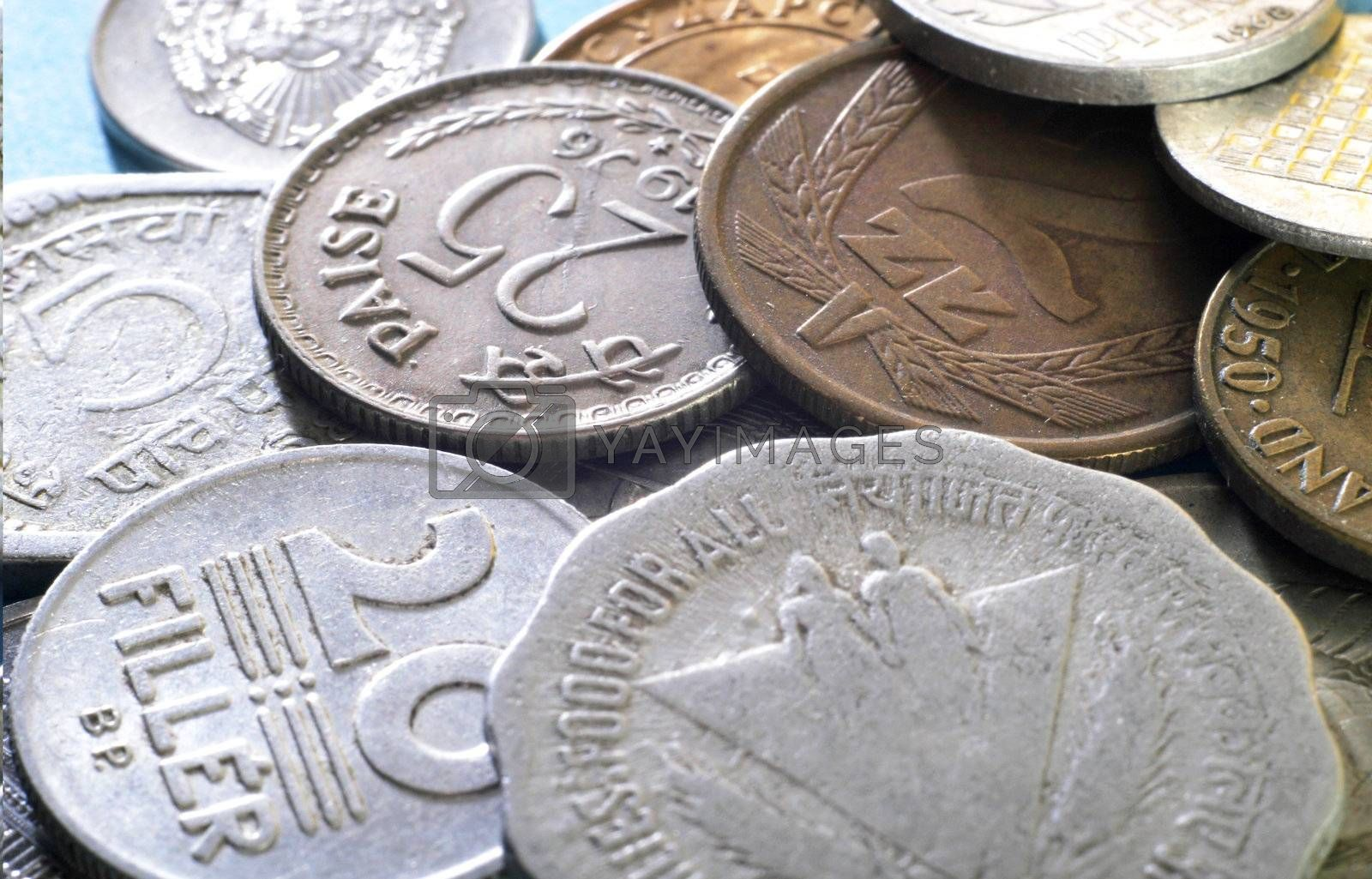 Modern international coins on the table