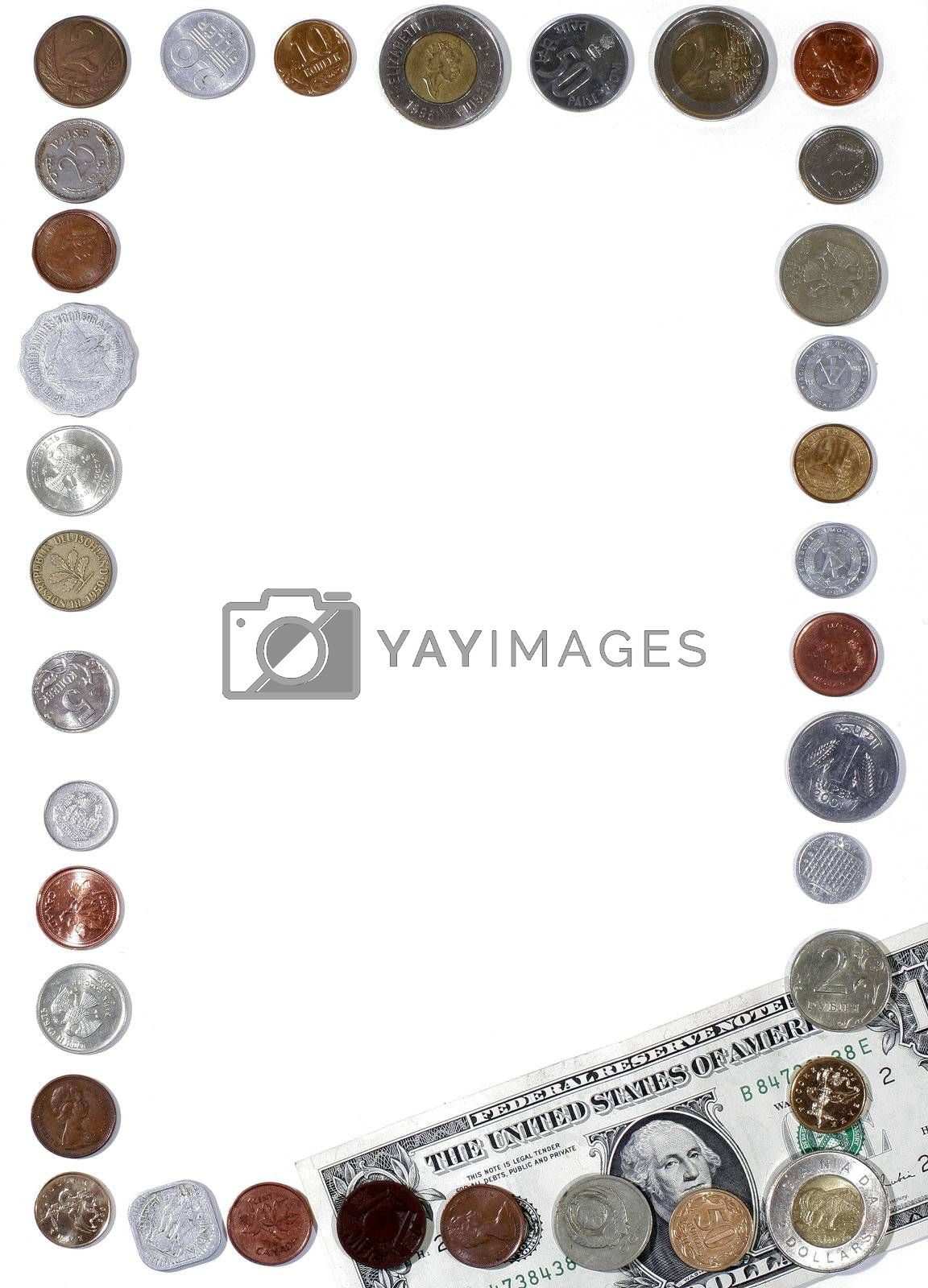 Frame of Modern international coins on the table.