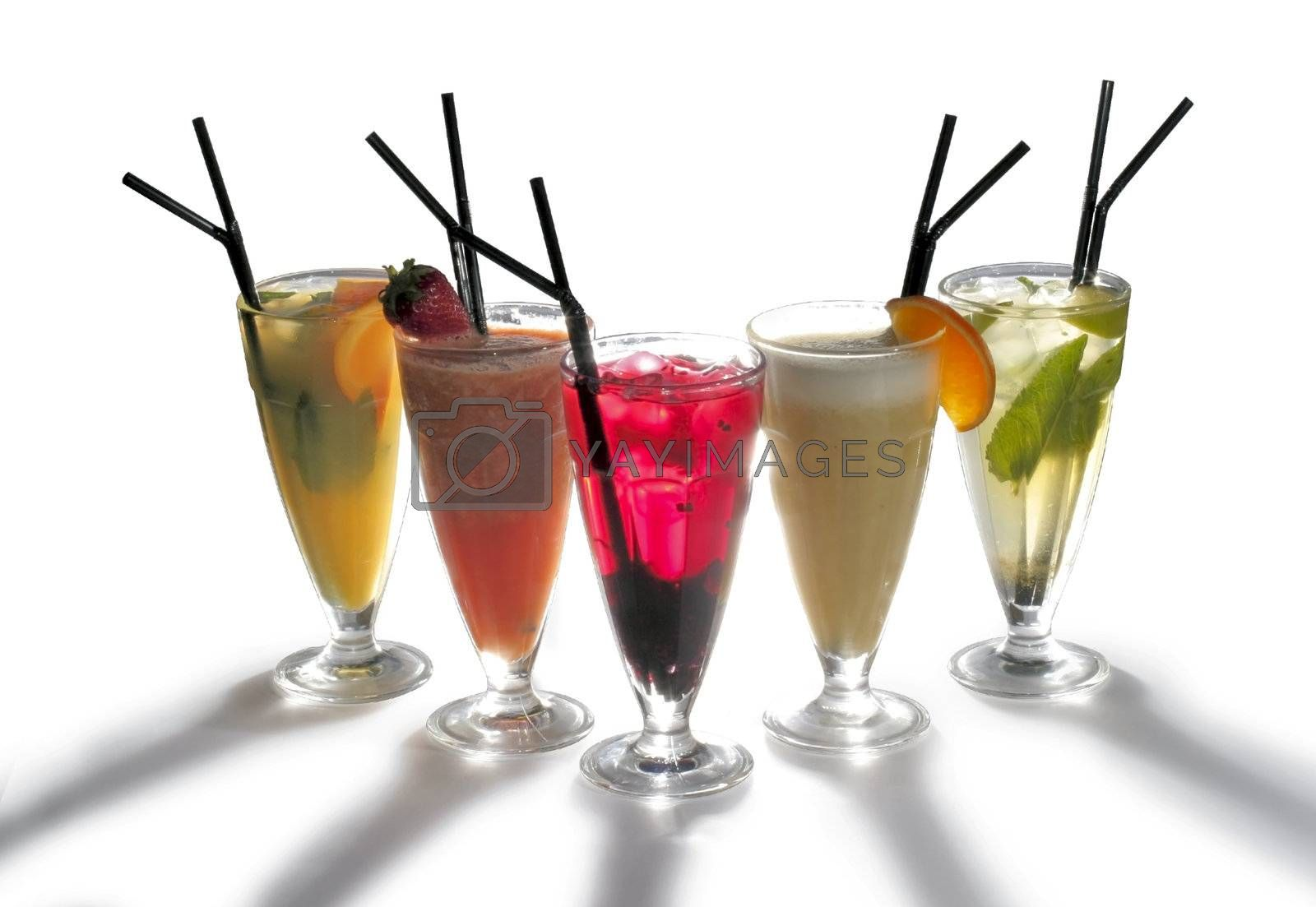 five goblets with nonalcoholic cocktail