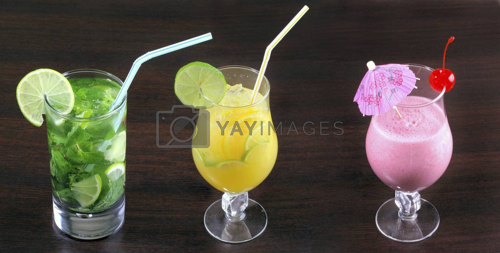 Three fresh and cold cocktails. See another food and beverages photo in my portfolio.