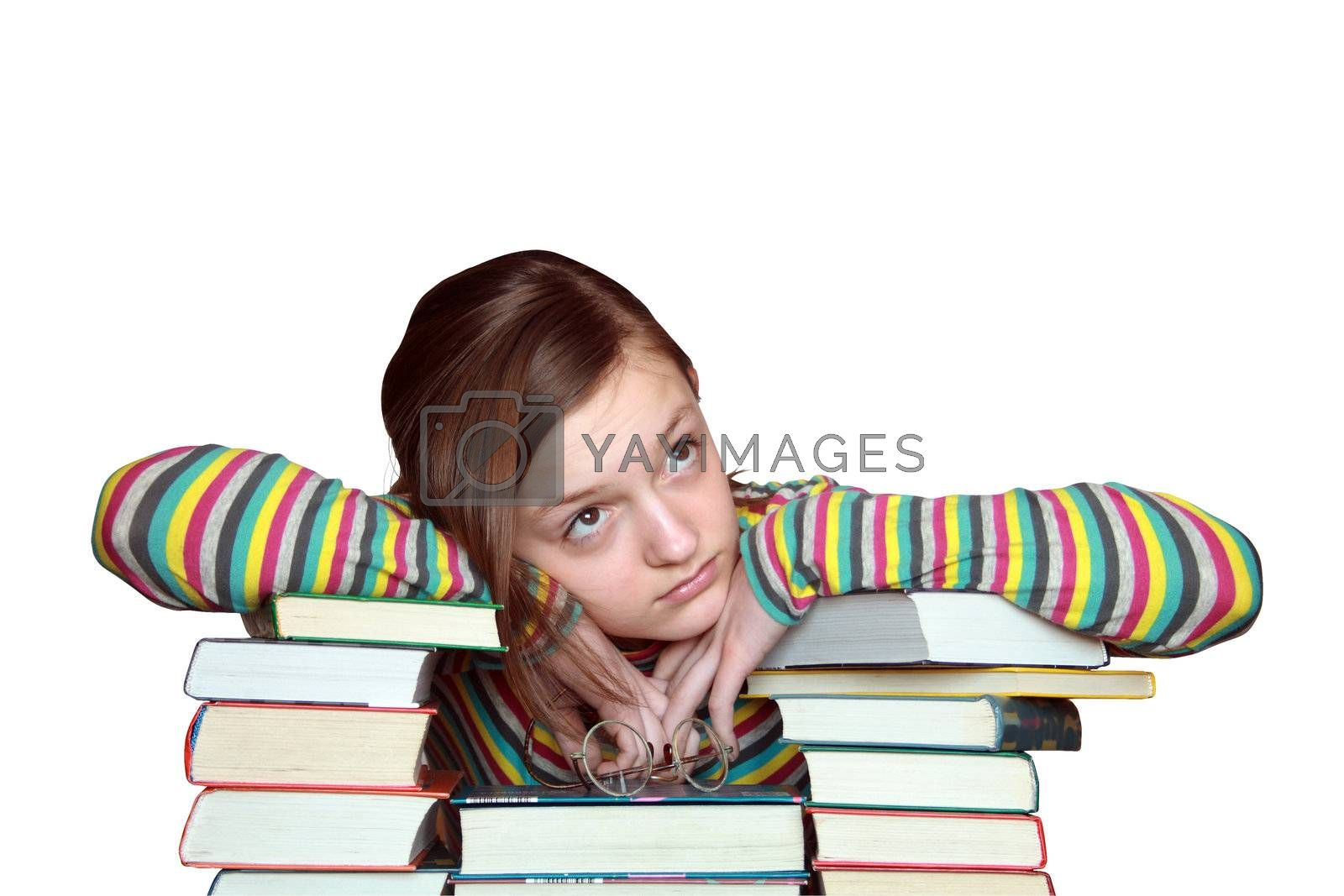Sad girl portrait with stack of books. Isolated on white with clipping path