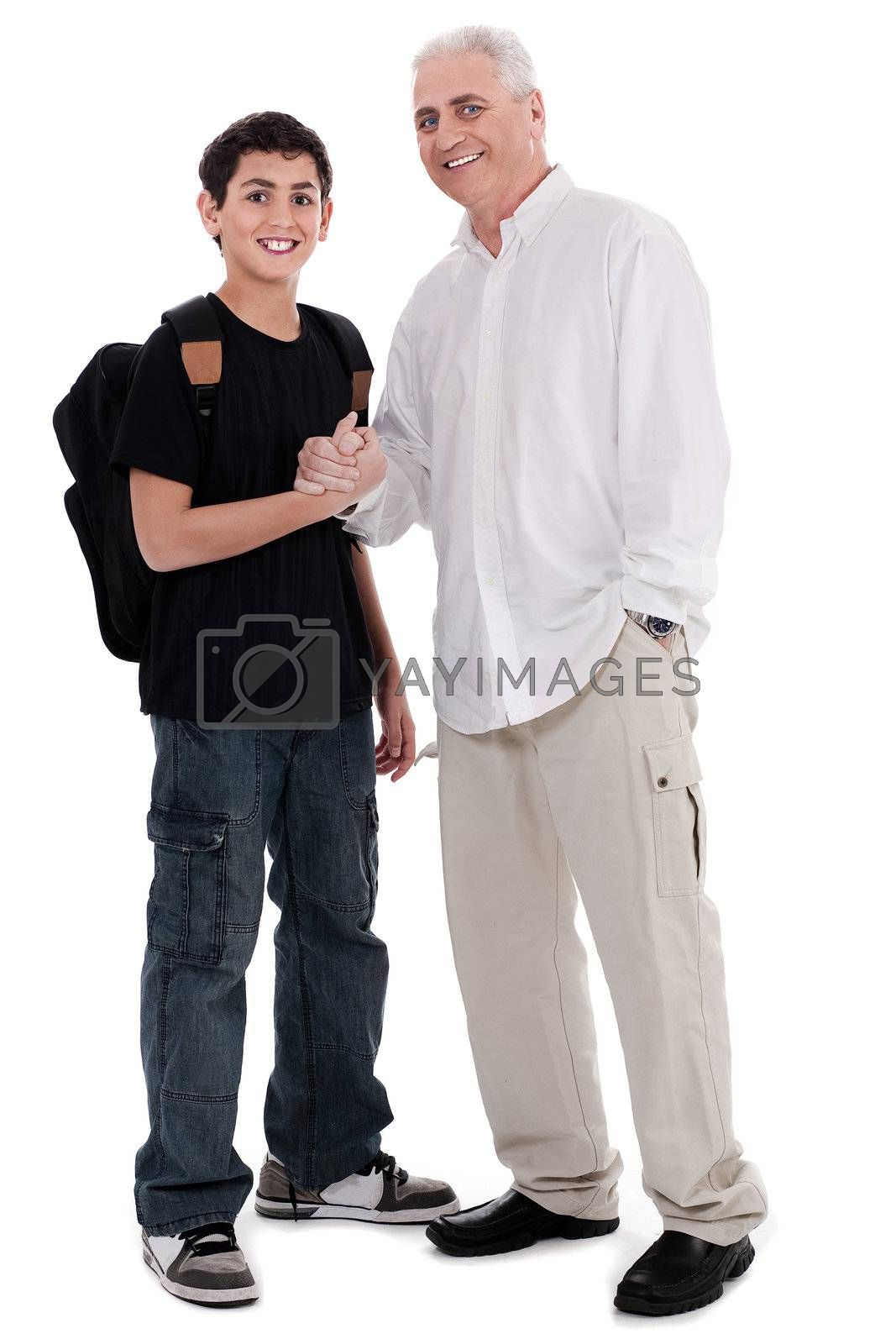father giving shakehand to his son on white background