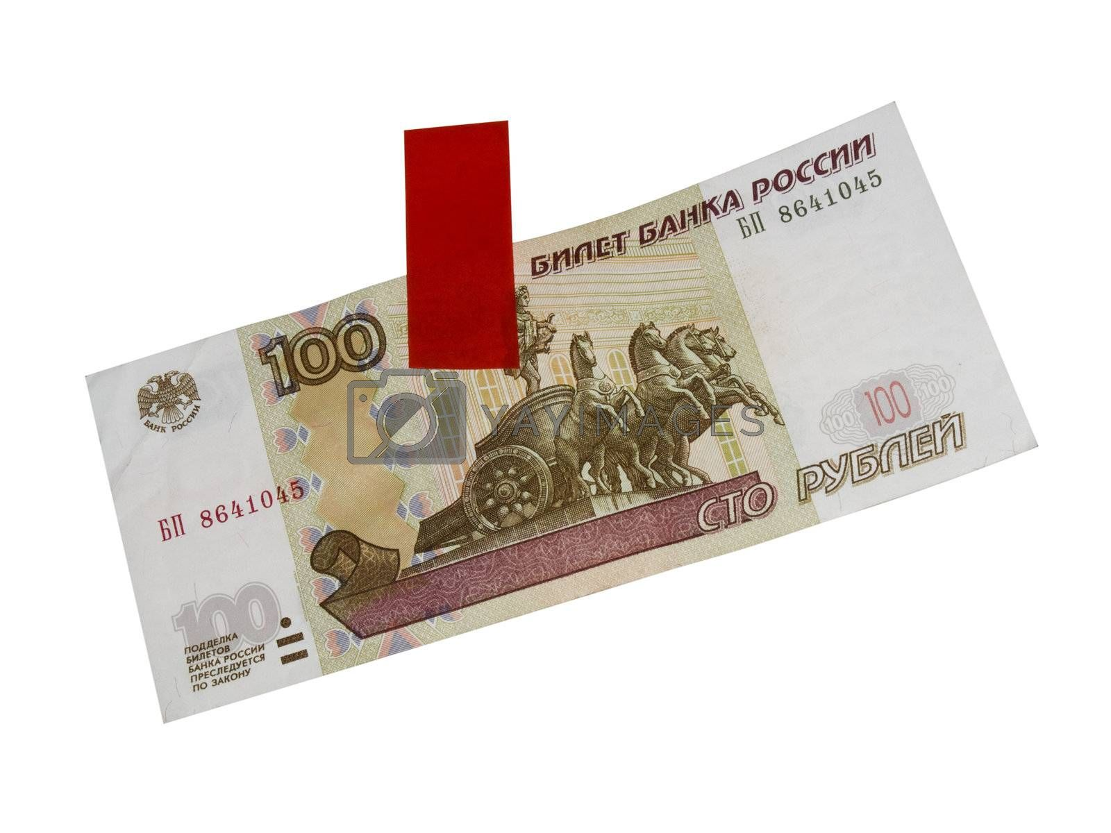 Russian  money. 100 rubles and adhesive tape isolated on white