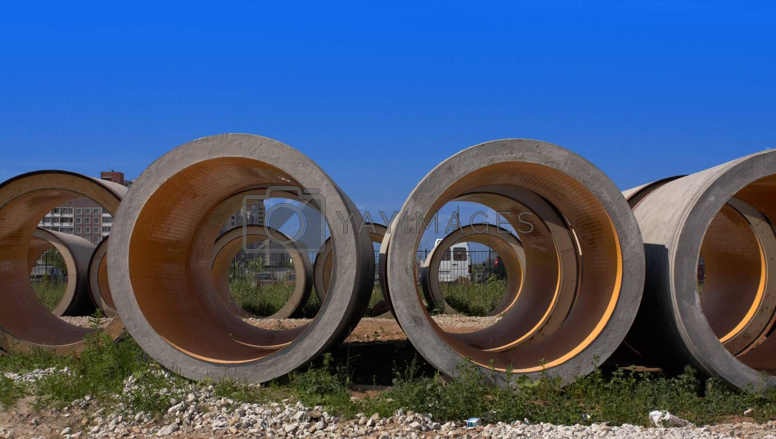 Concrete pipes for construction of new sewer system.