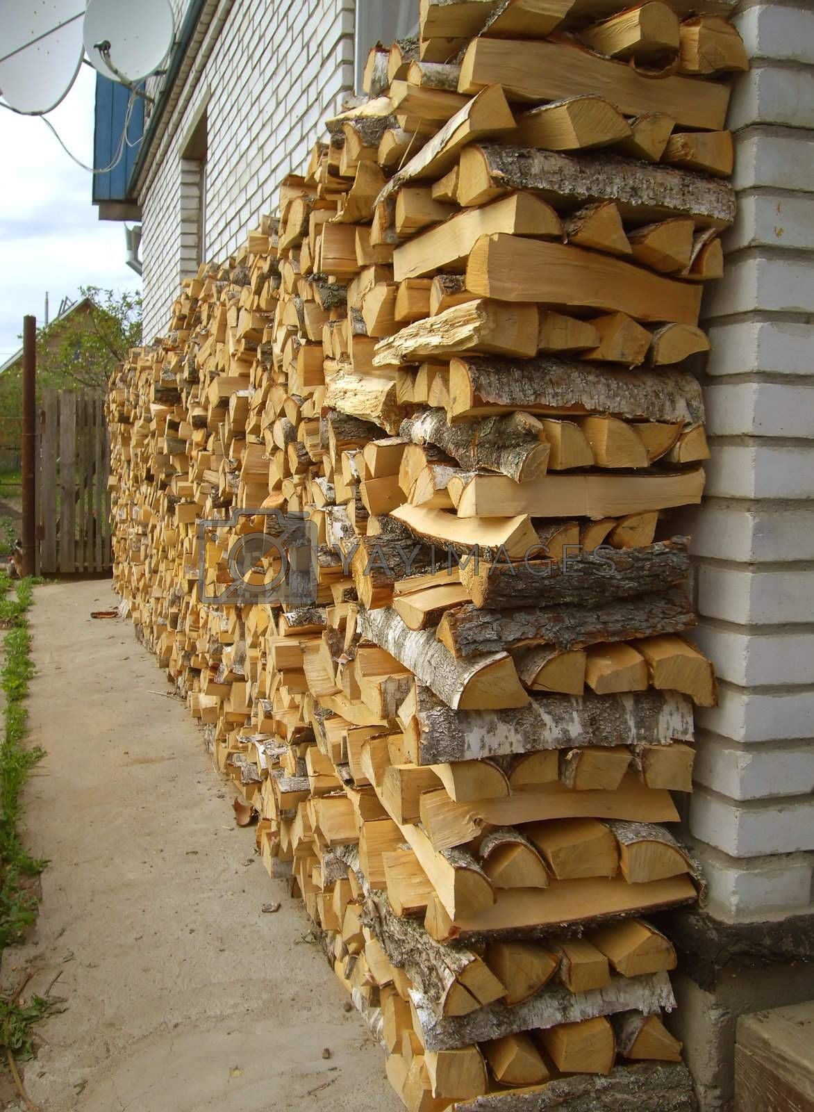 A woodpile of birch fire wood, preparation of fuel for the winter.
