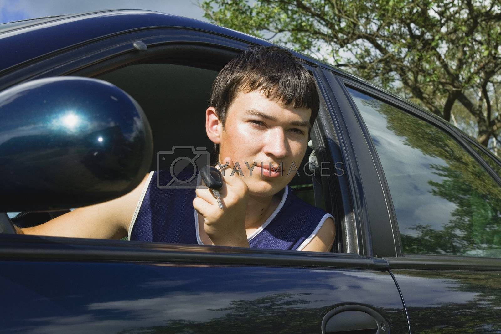 Young man just passed driving test