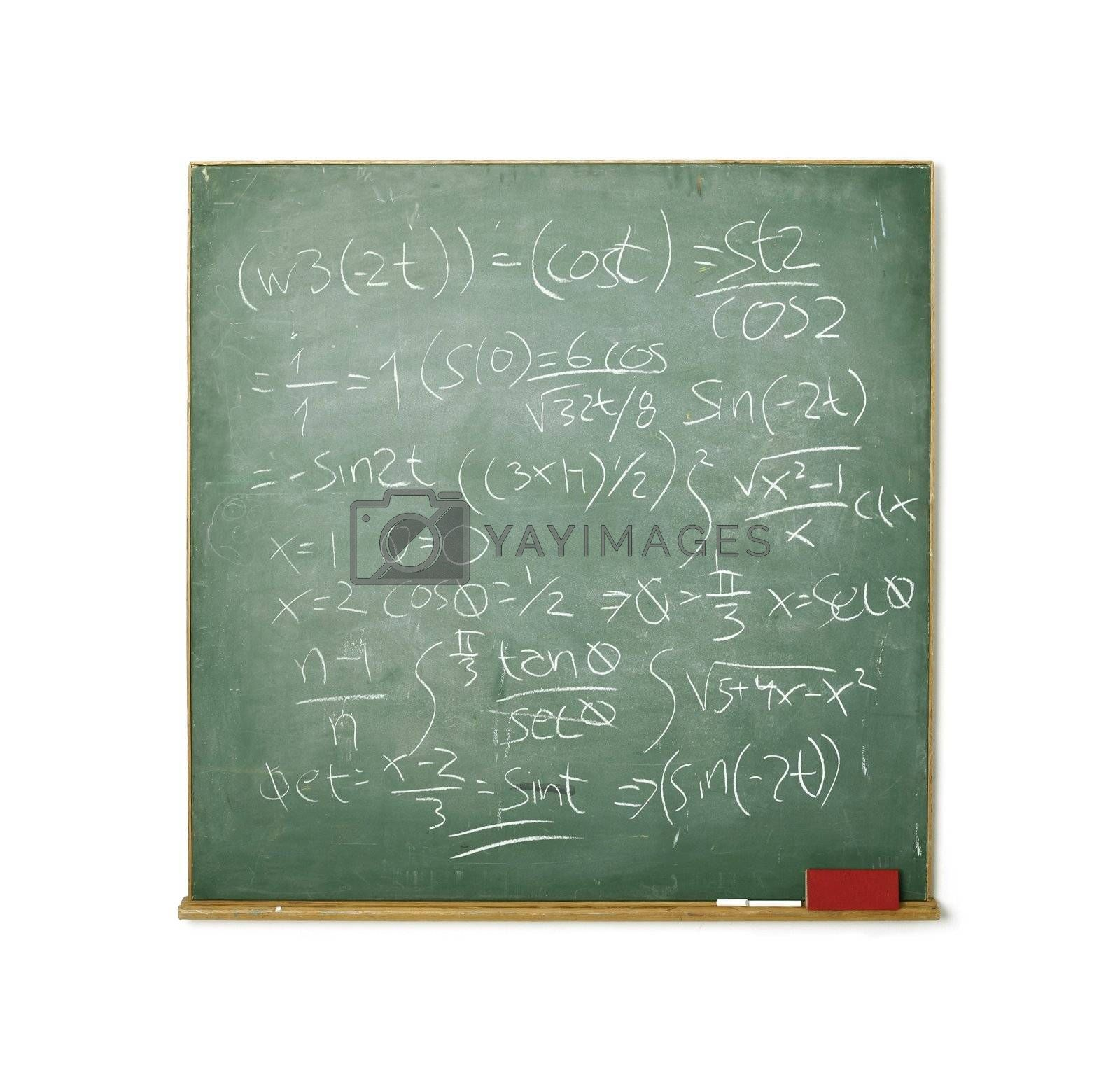 Old chalkboard with hard math isolated on white background