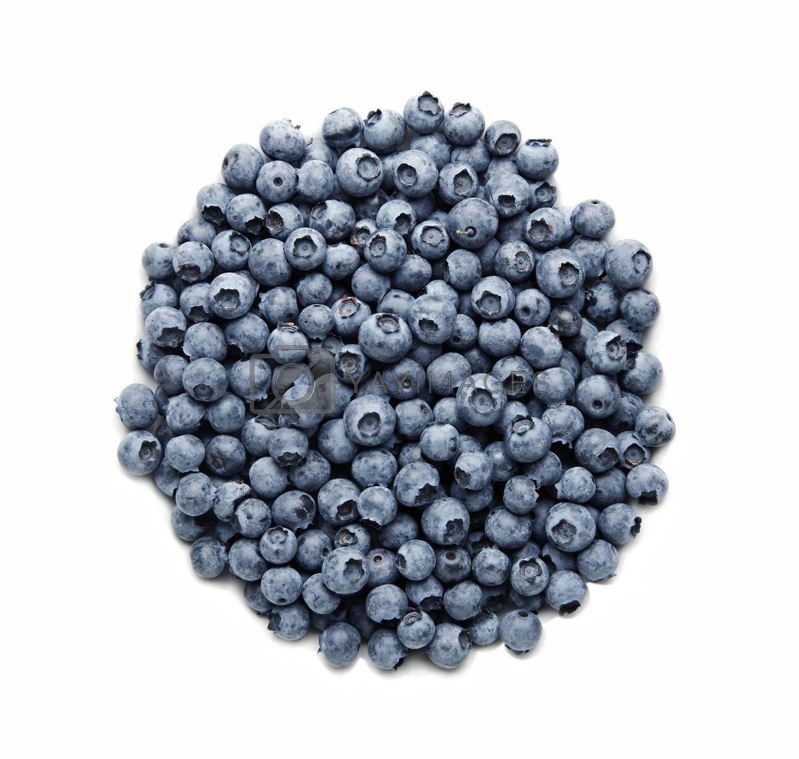 Fresh blueberries isolated on white by klikk