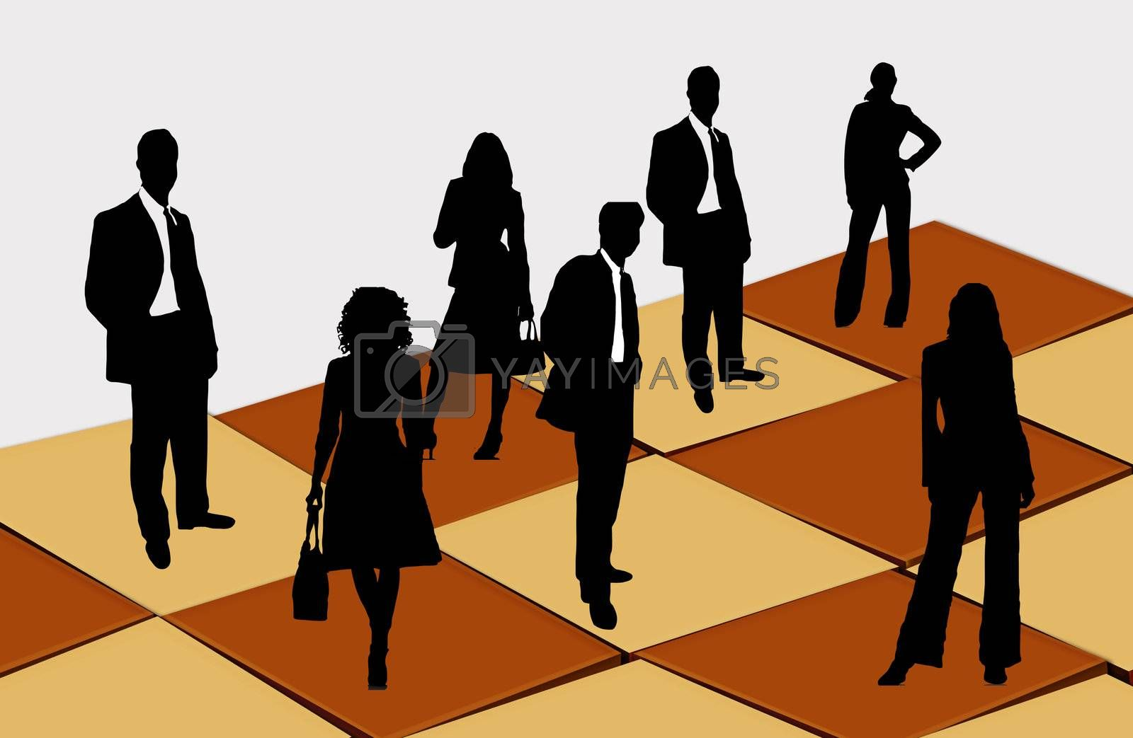 Here are businessmen and businesswomen on the chess