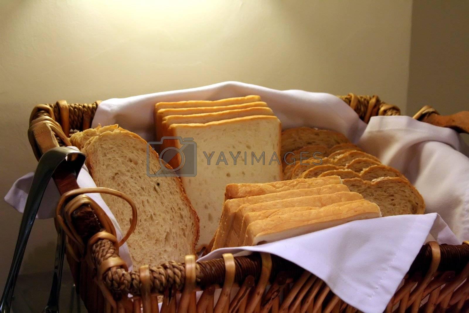 Sliced bread in a basket part of restaurant buffet breakfast