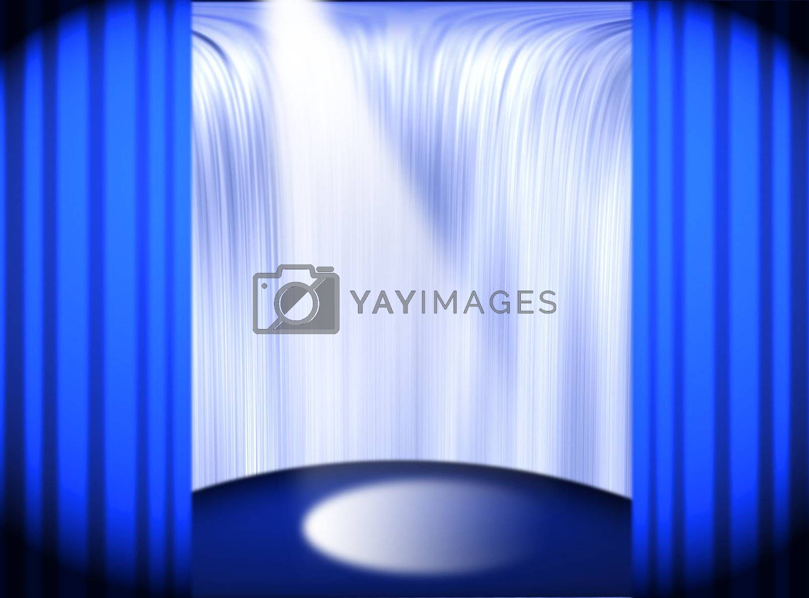 Stage with the beam and waterfall behind