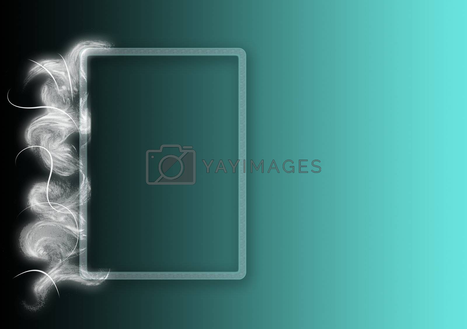 background with frame, drawing fantasy faded green and white background