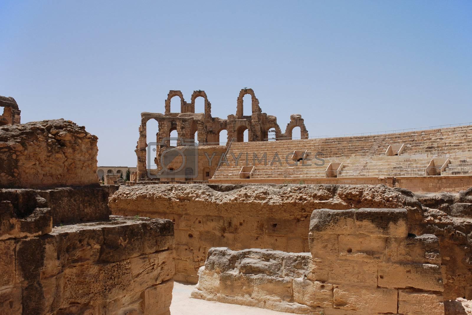 Ruins of Roman Amphitheater in El-Jem, Tunisia (UNESCO World Heritage)