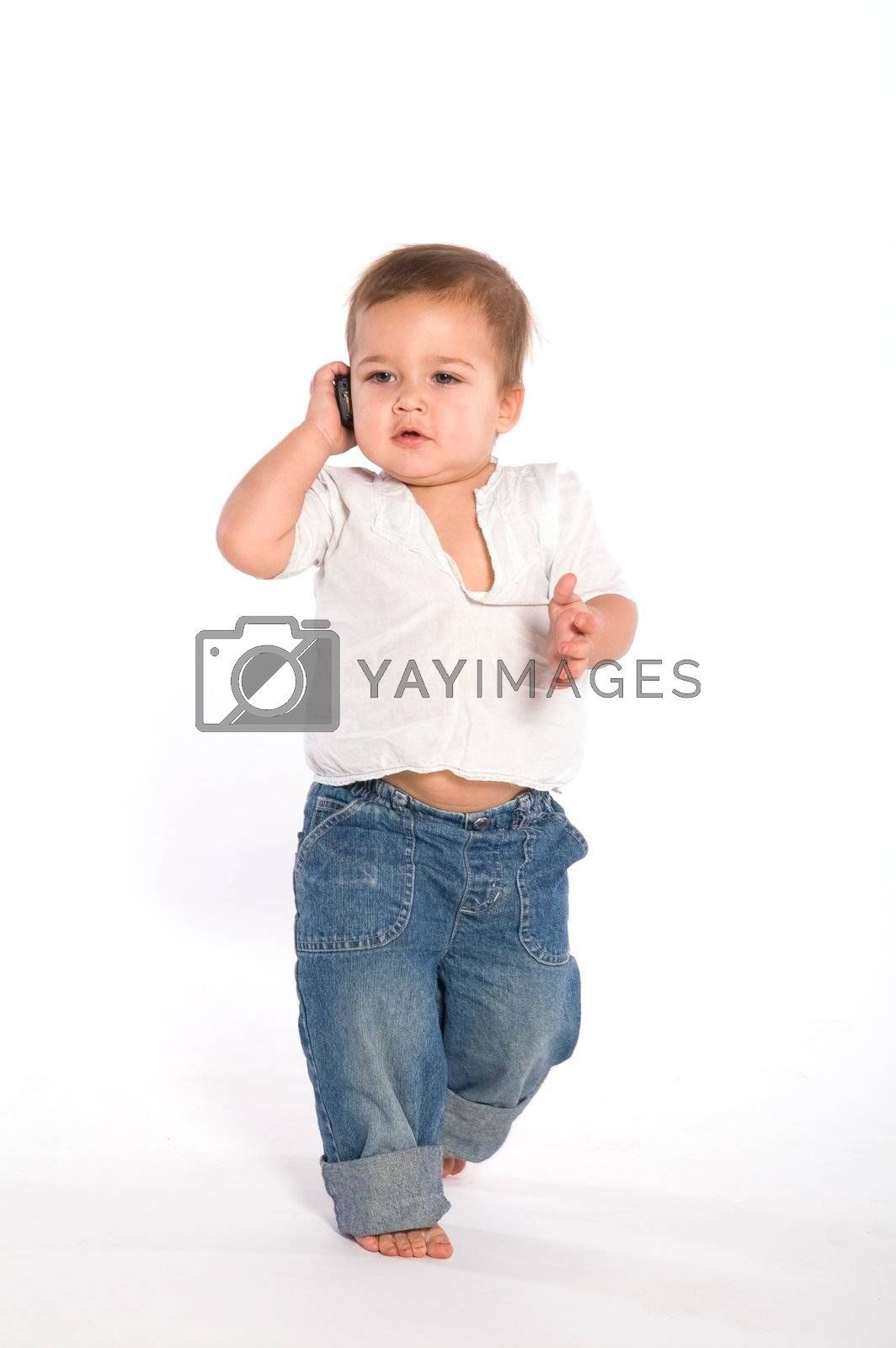1 year baby walking and speaking by the phone