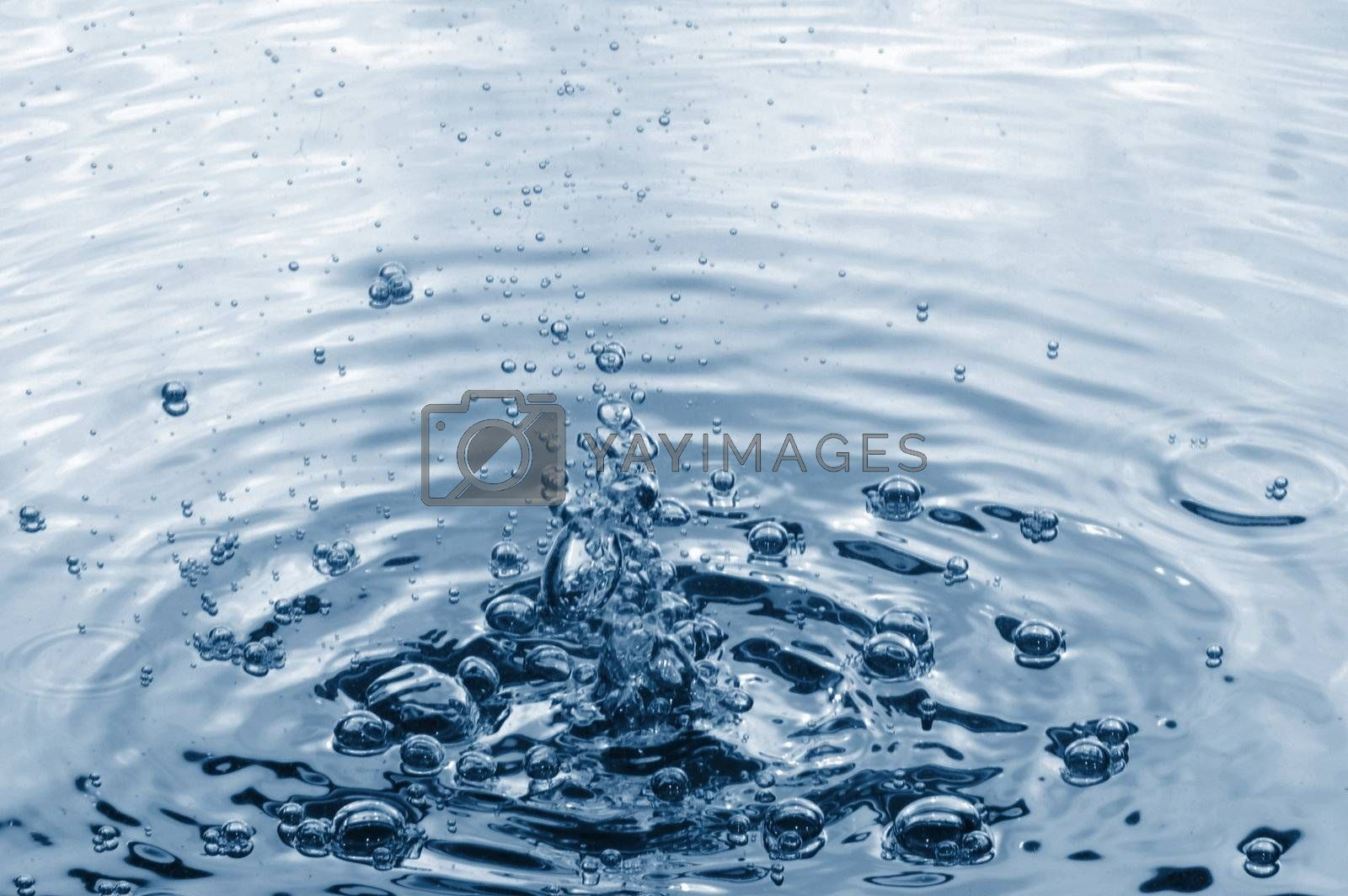 fresh abstract water background with splashing bubbles