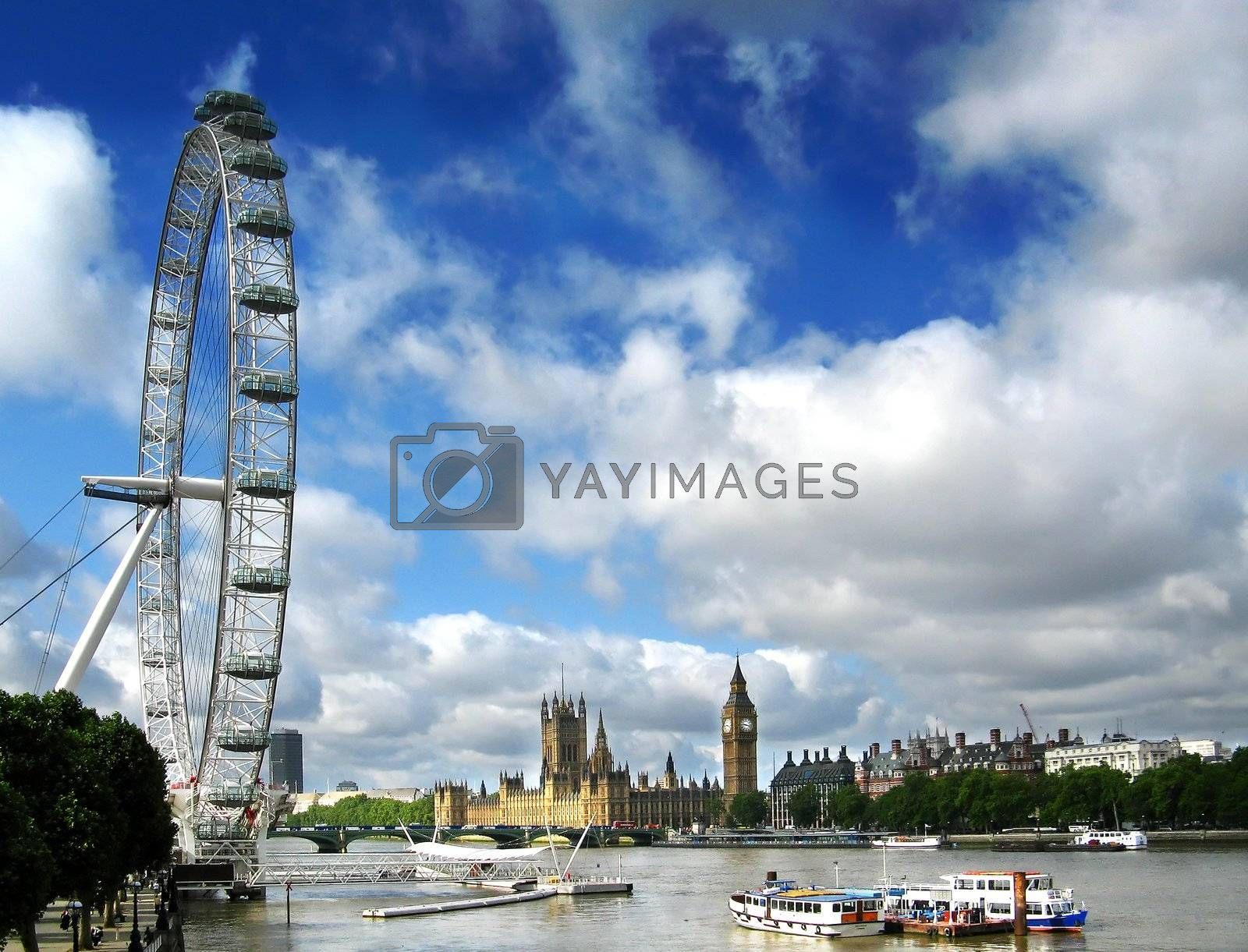 London Eye on the river Thames and Houses Of Parliment