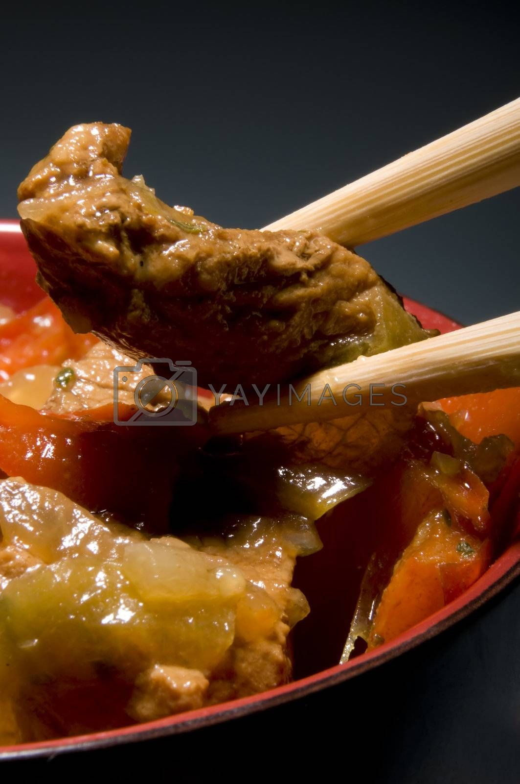 Chinese food with chopsticks