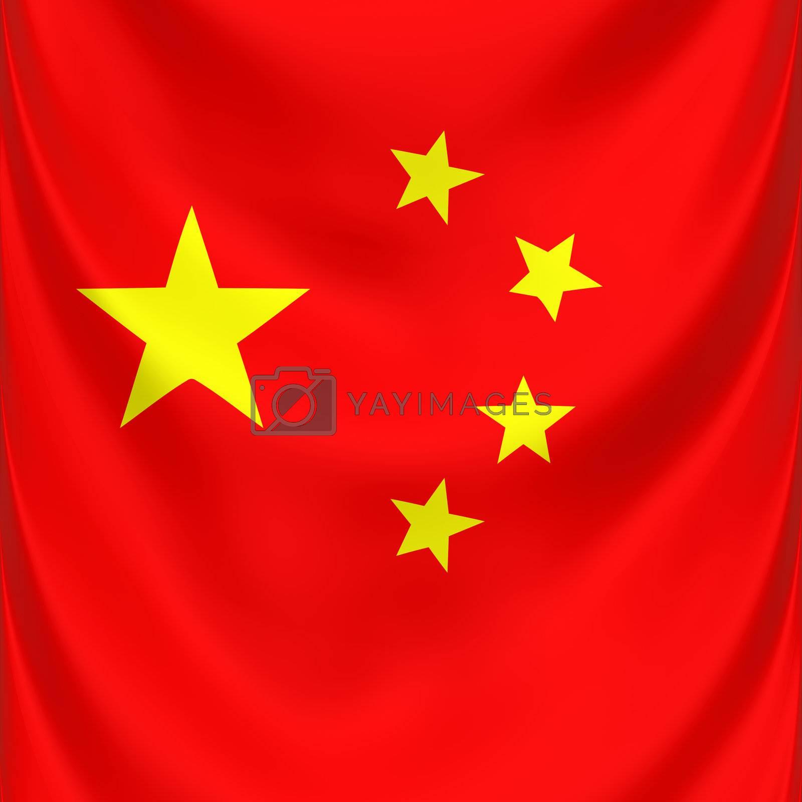 square 3d draped national symbol of China