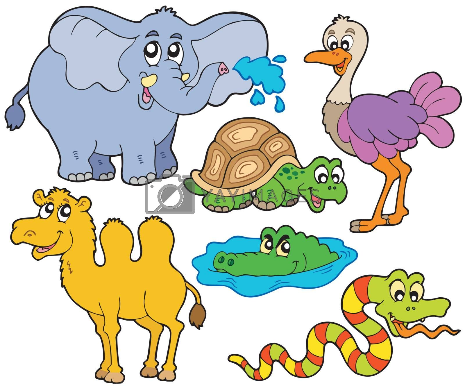 Tropical animals collection - vector illustration.