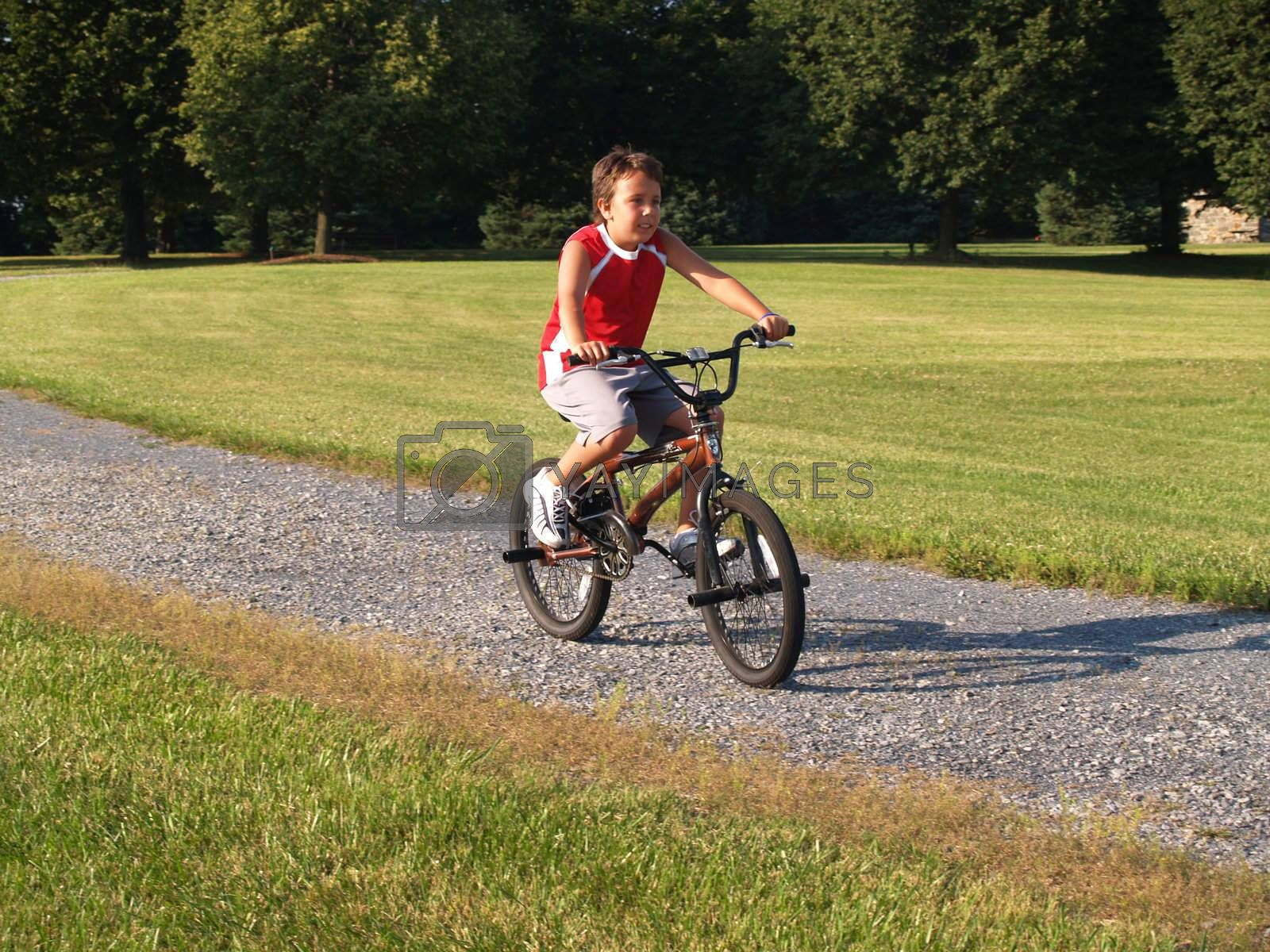 young boy riding a bike in a park